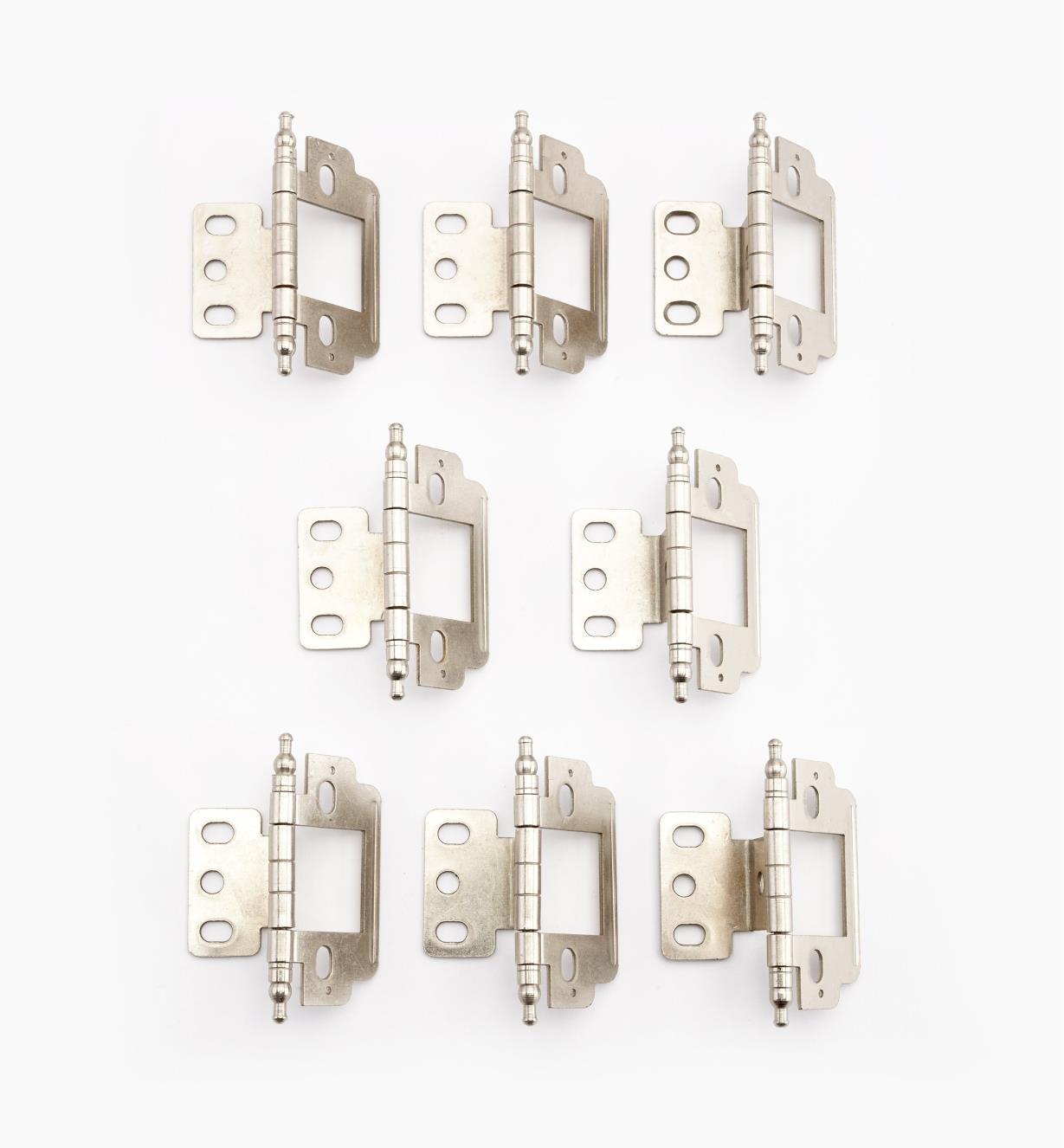 01H3143 - Nickel Plate Minaret Partial-Wrap Inset Hinges, pkg.of8
