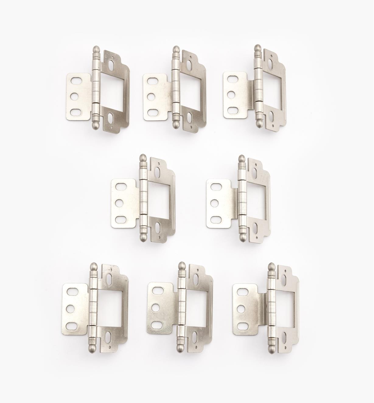 01H3145 - Nickel Plate Ball Partial-Wrap Inset Hinges, pkg.of8