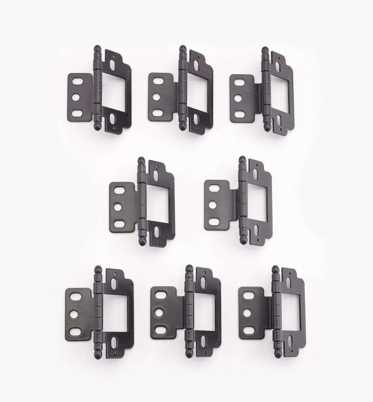 01H3165 - Charnières pour porte encastrée, meuble sans cadre, embouts ronds, noir, lelotde8
