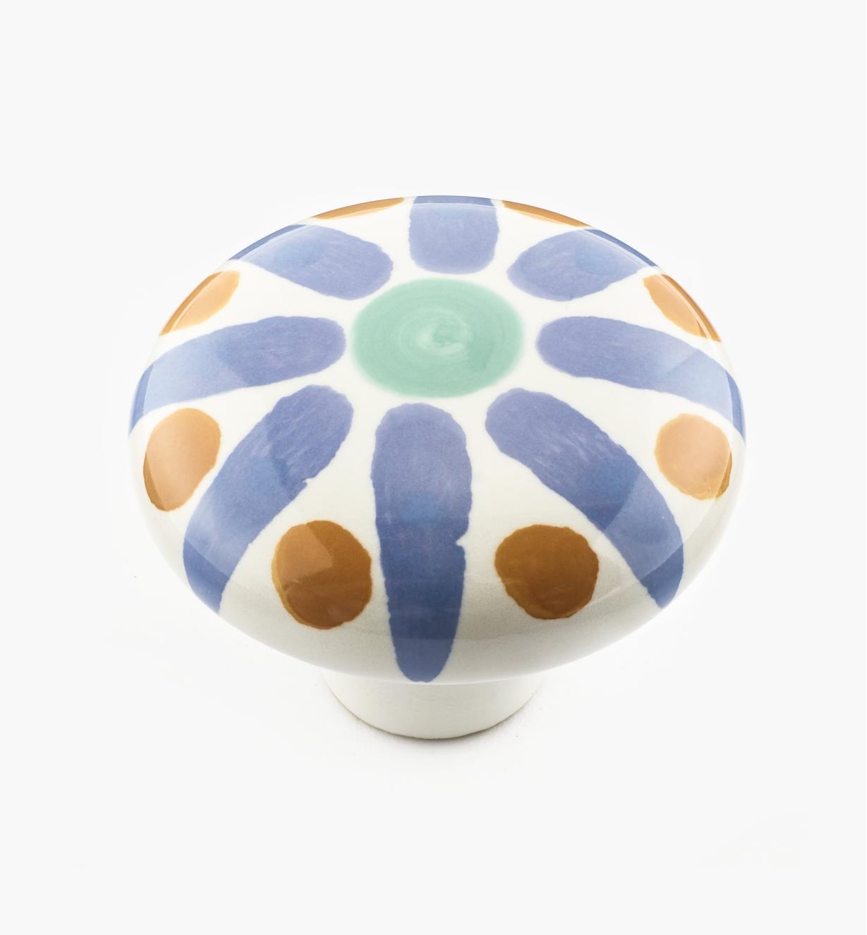 02W1501 - Bouton en céramique peint à la main, rayons de soleil bleus, 2 po