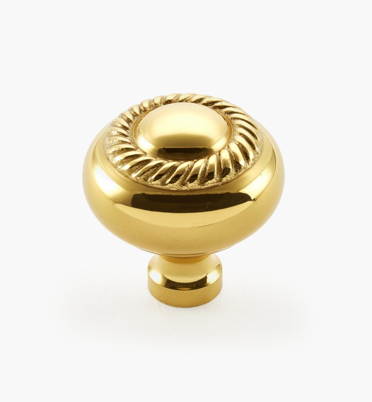 "03W1301 - Brass Liberty, 1 1/4"" x 1 3/8"" Rope Knob, ea."