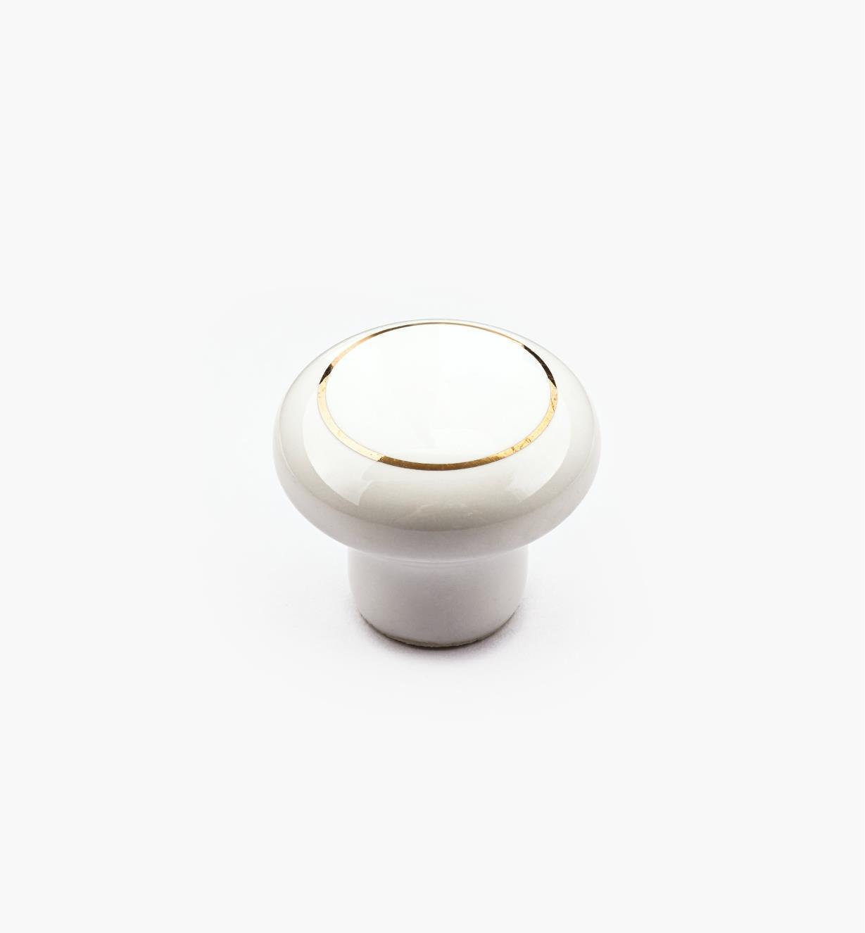 """00W2806 - 1"""" x  3/4"""" White & Gold Knob"""