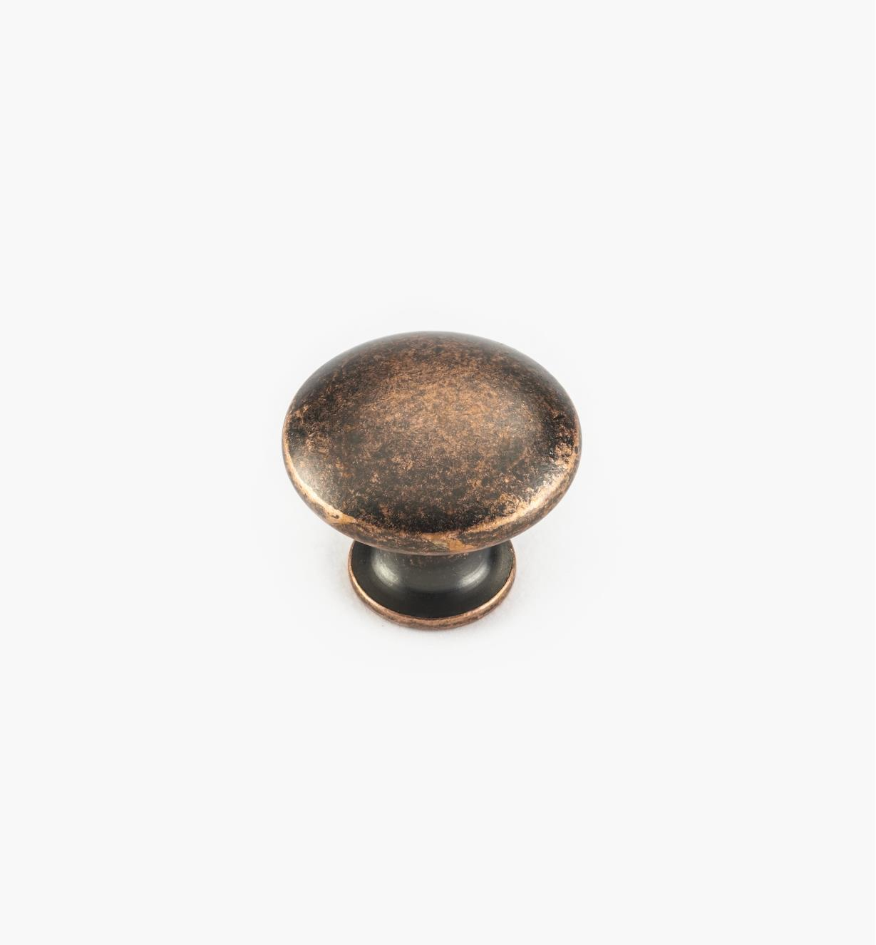 "02W4224 - 7/8"" x 3/4"" Antique Copper Knob"