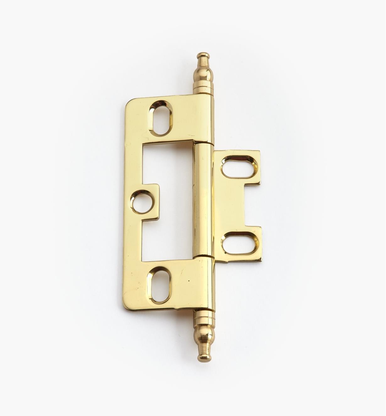 02H1203 - Polished Brass No-Mortise Hinge/Minaret