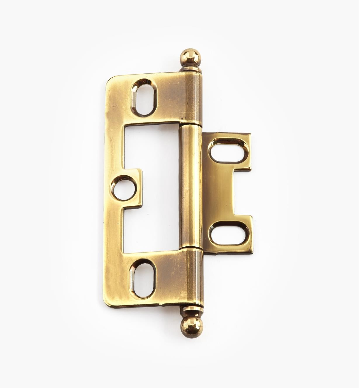 02H1212 - Polished Antique No-Mortise Hinge/Ball