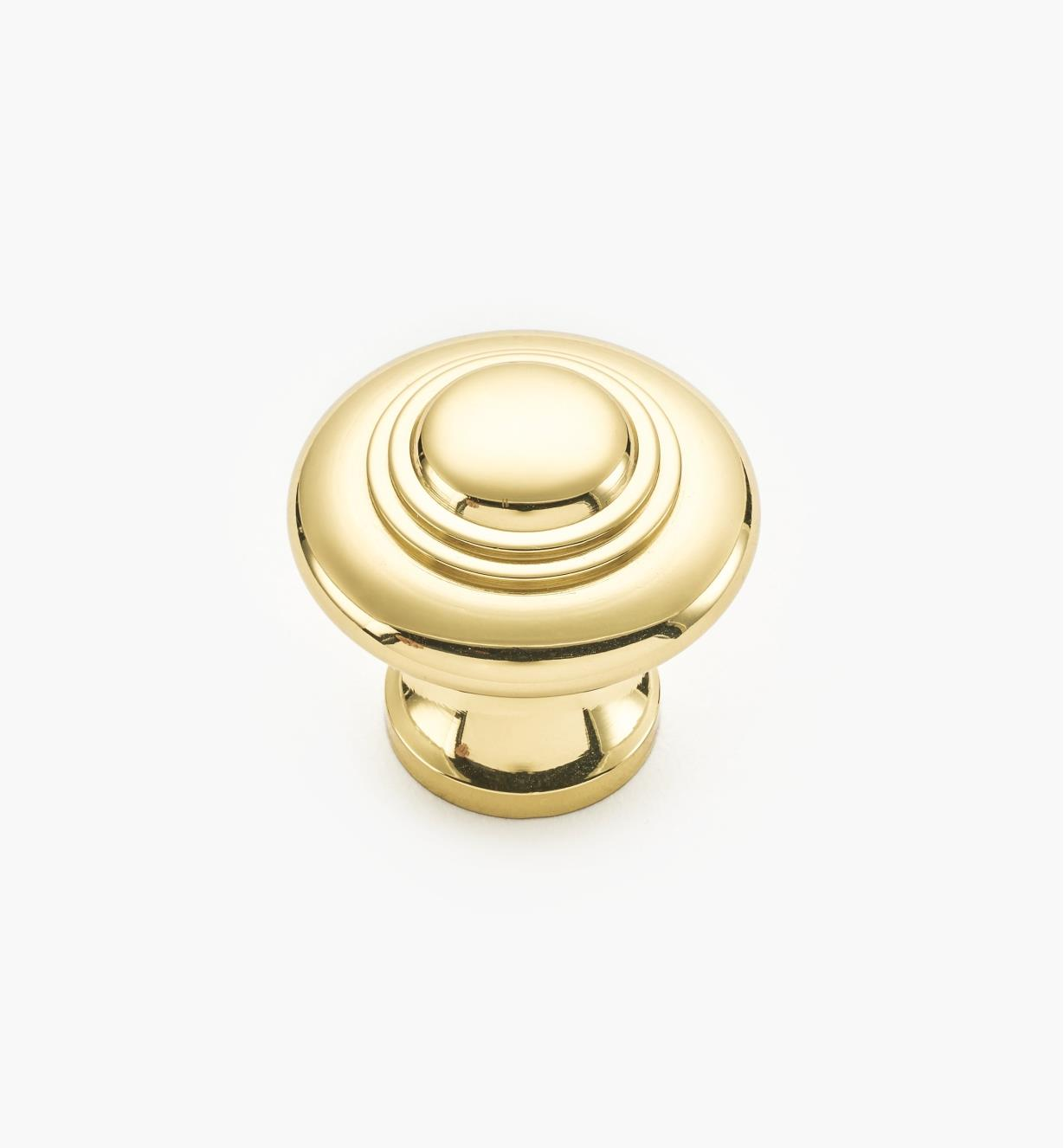 "02W1212 - 1 5/16"" x 1 1/4"" Polished Brass Ring Knob"