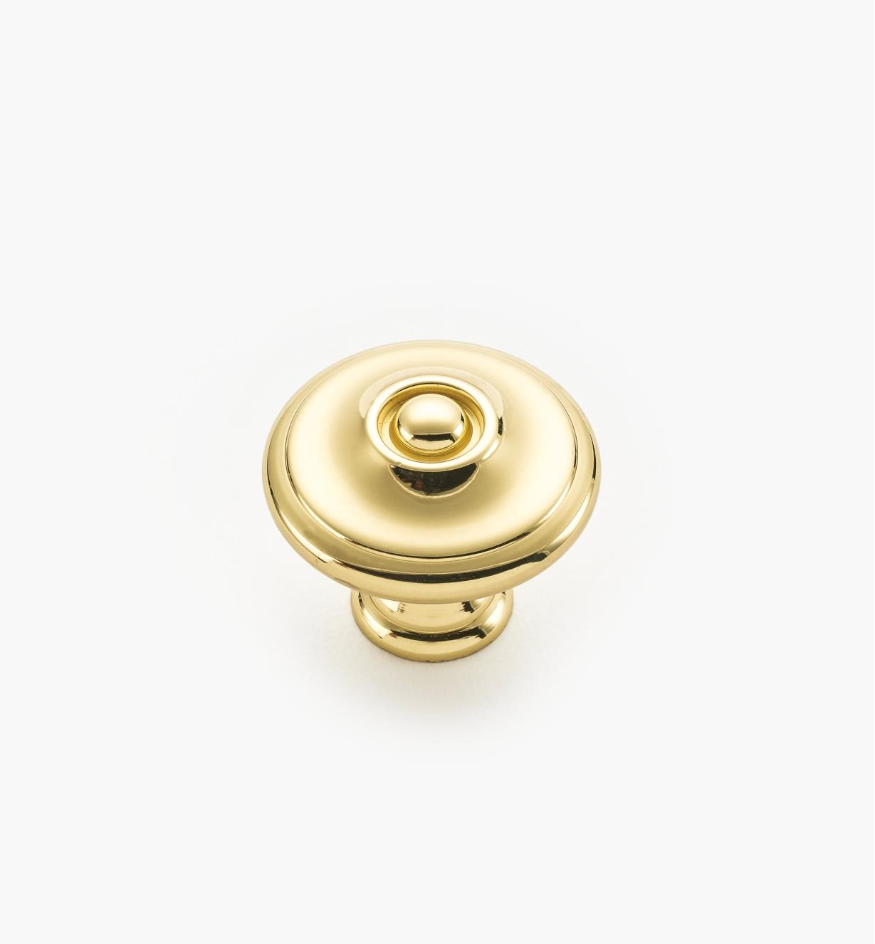 "02W1213 - 1 1/8"" x 1"" Polished Brass Hartford Knob"