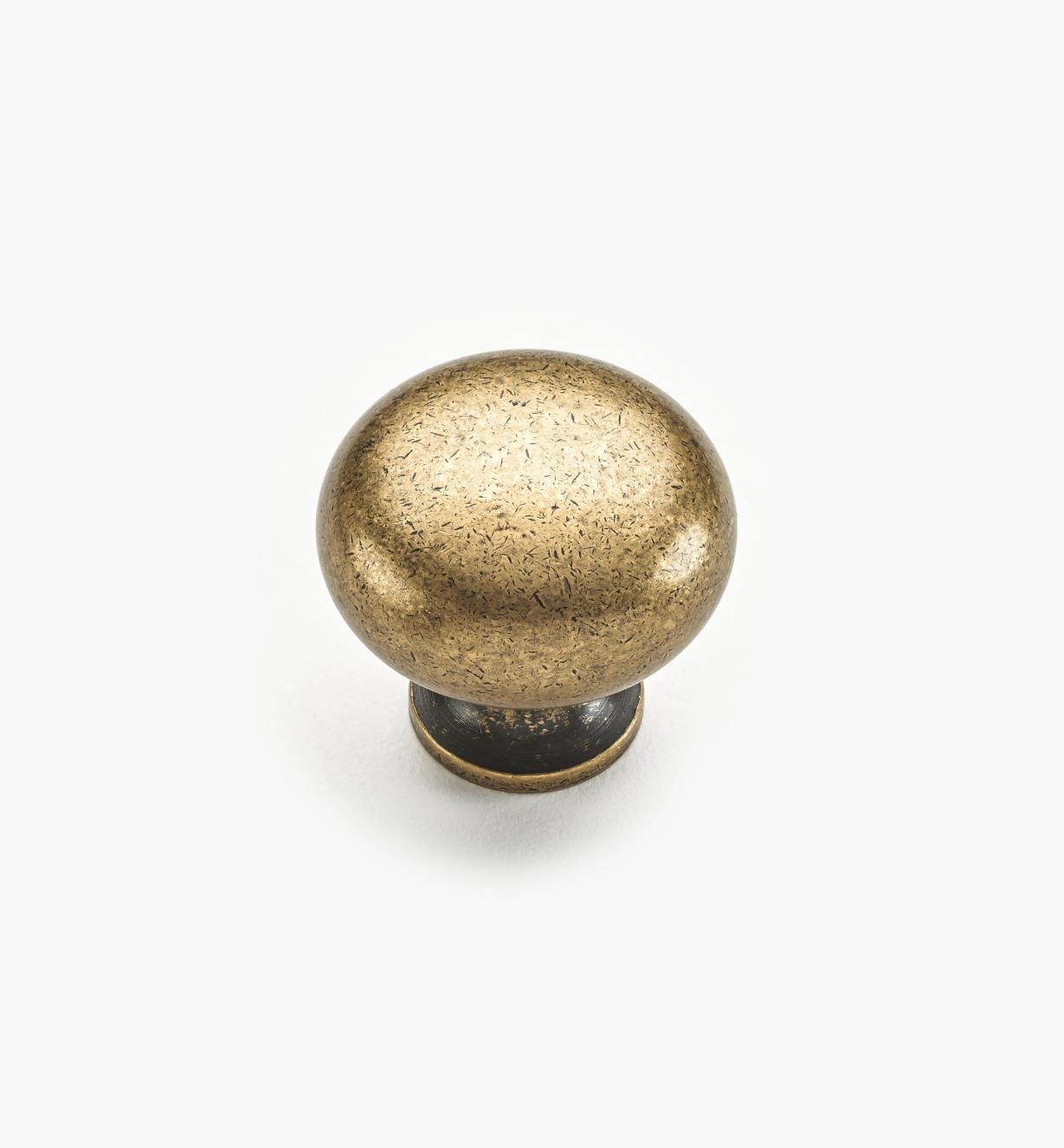 """02W1240 - 1 3/16"""" x 1 1/8"""" Antique Brass Classic Knob"""
