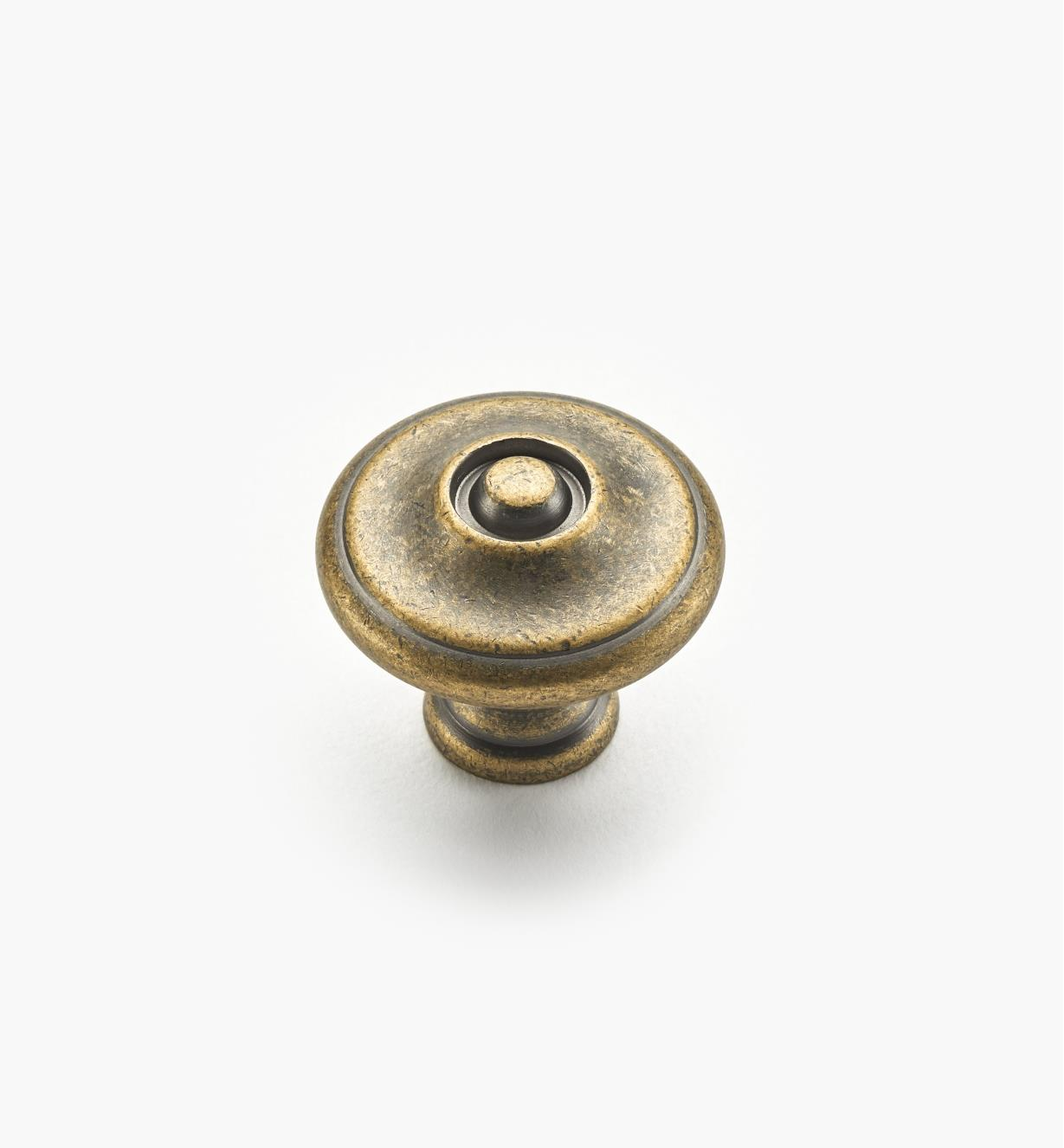"02W1243 - 1 1/8"" x 1"" Antique Brass Knob"