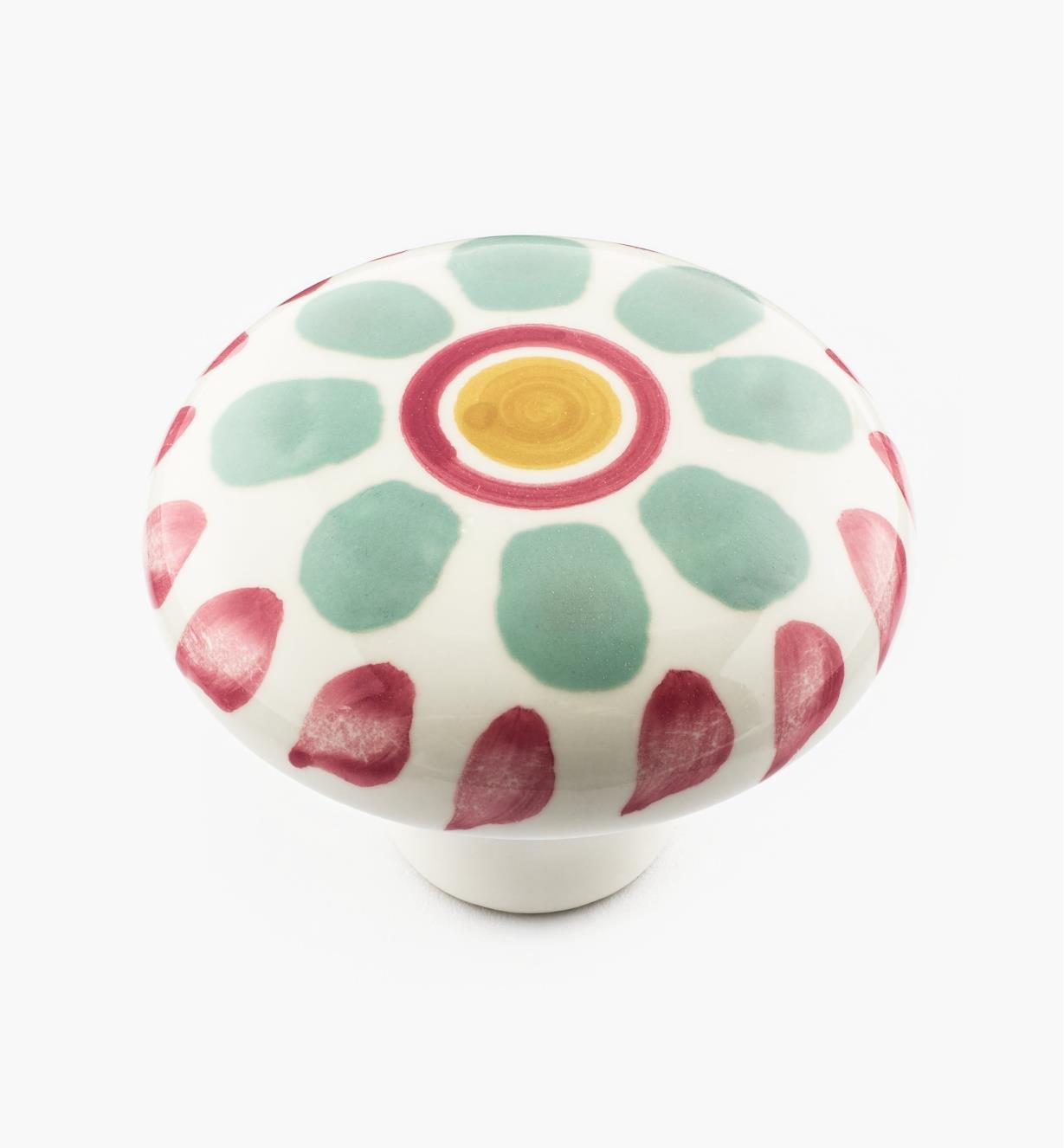 "02W1506 - 2"" Green Floral Ceramic Knob"