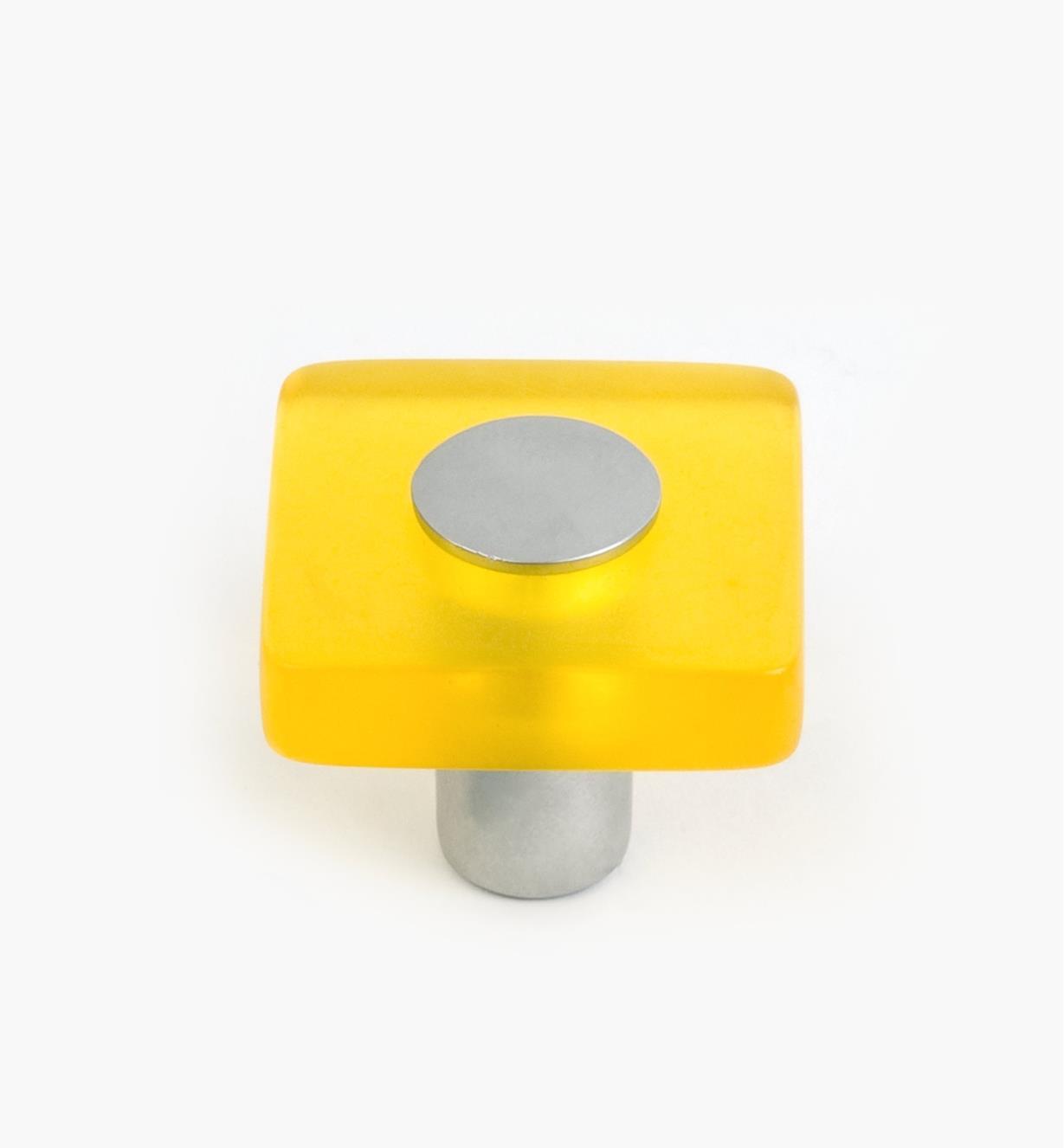 01W1180 - Bouton carré Malaga, jaune, 30 mm x 25 mm