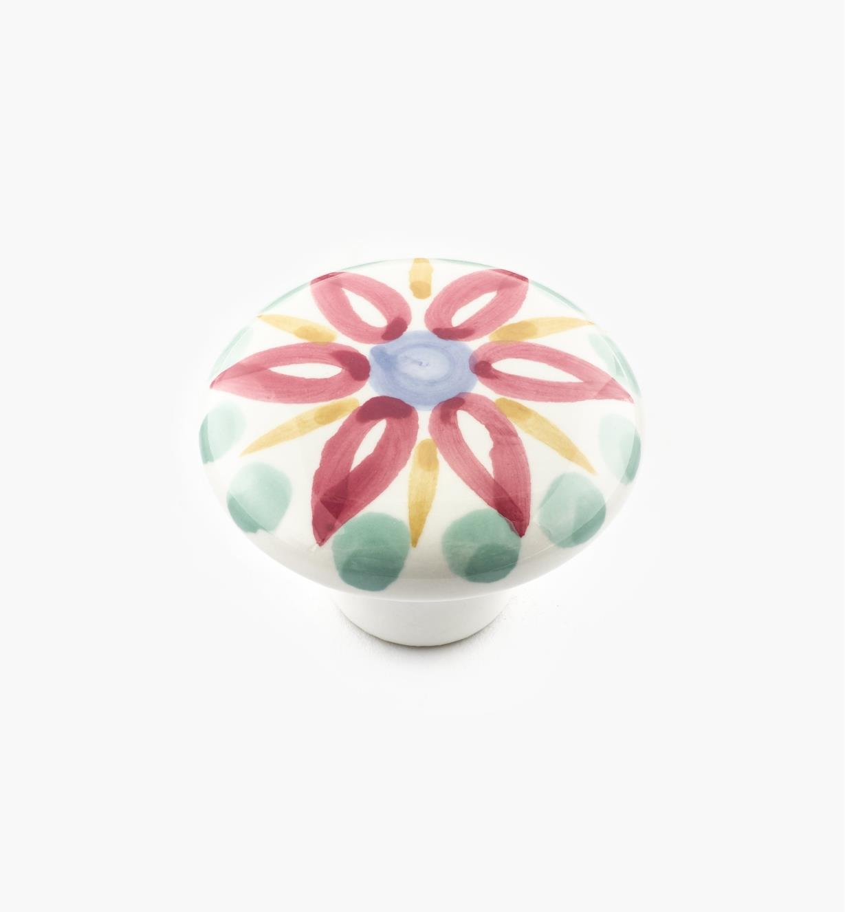01W3103 - Red Floral Knob