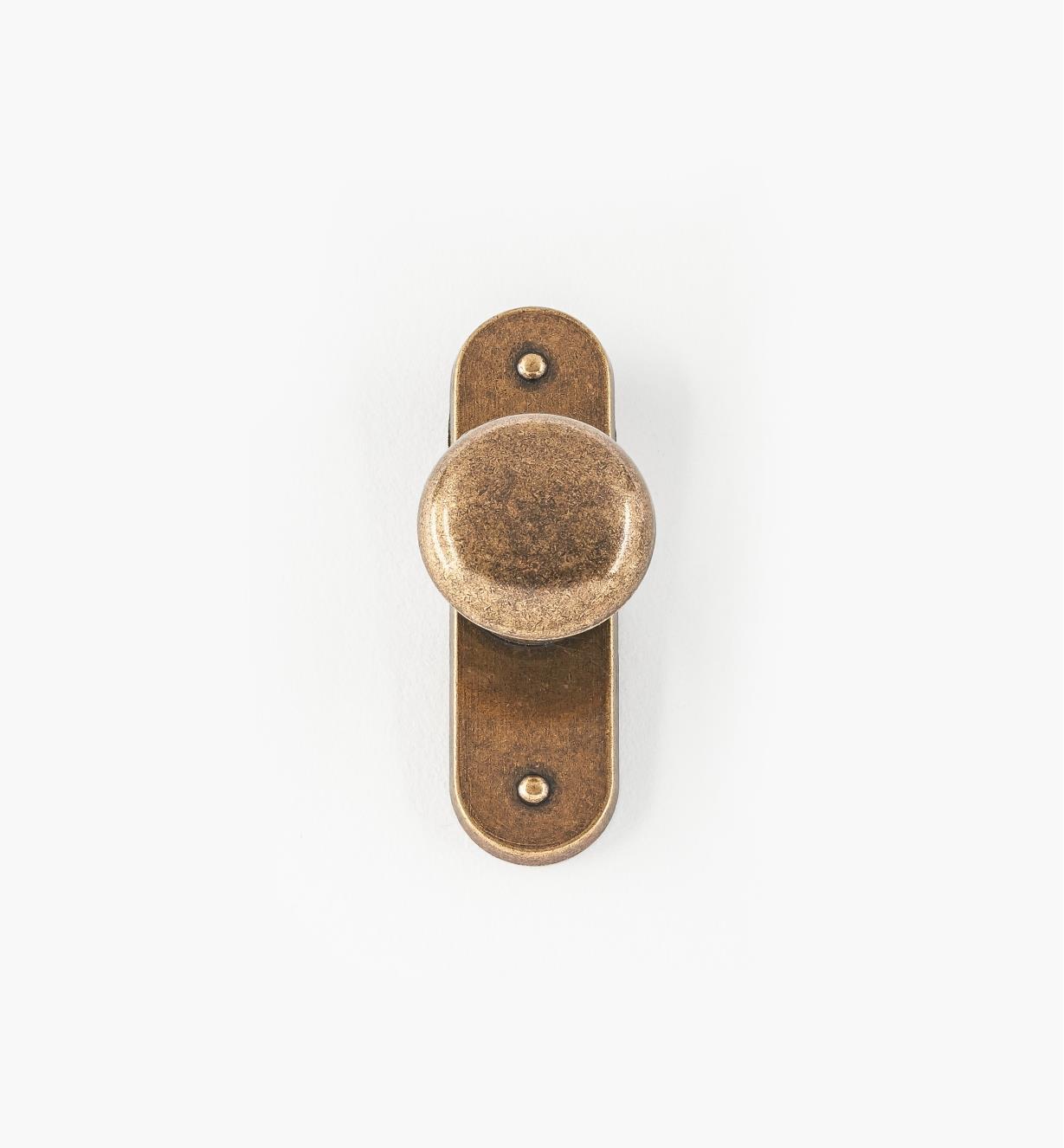 01W3331 - Bouton de porte sur platine, fini anglais antique, 2 1/2 po