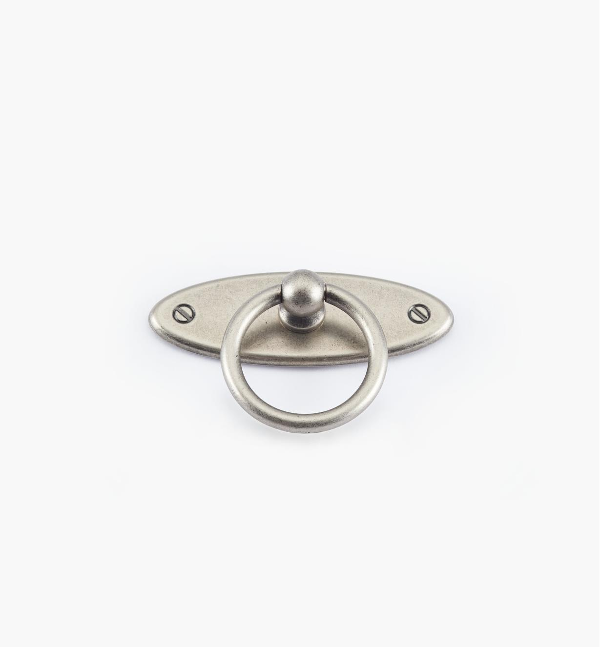 01X3066 - 65mm x 35mm Pewter Ring Pull/Escutcheon