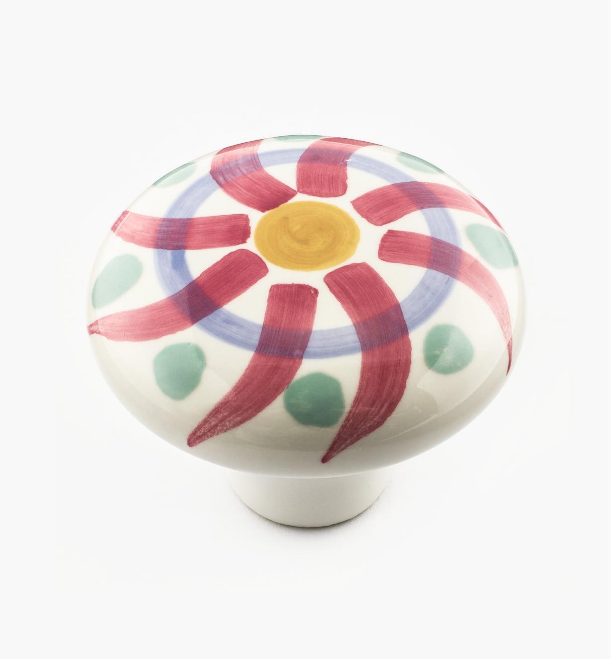 02W1502 - Bouton en céramique peint à la main, rayons de soleil rouges, 2 po