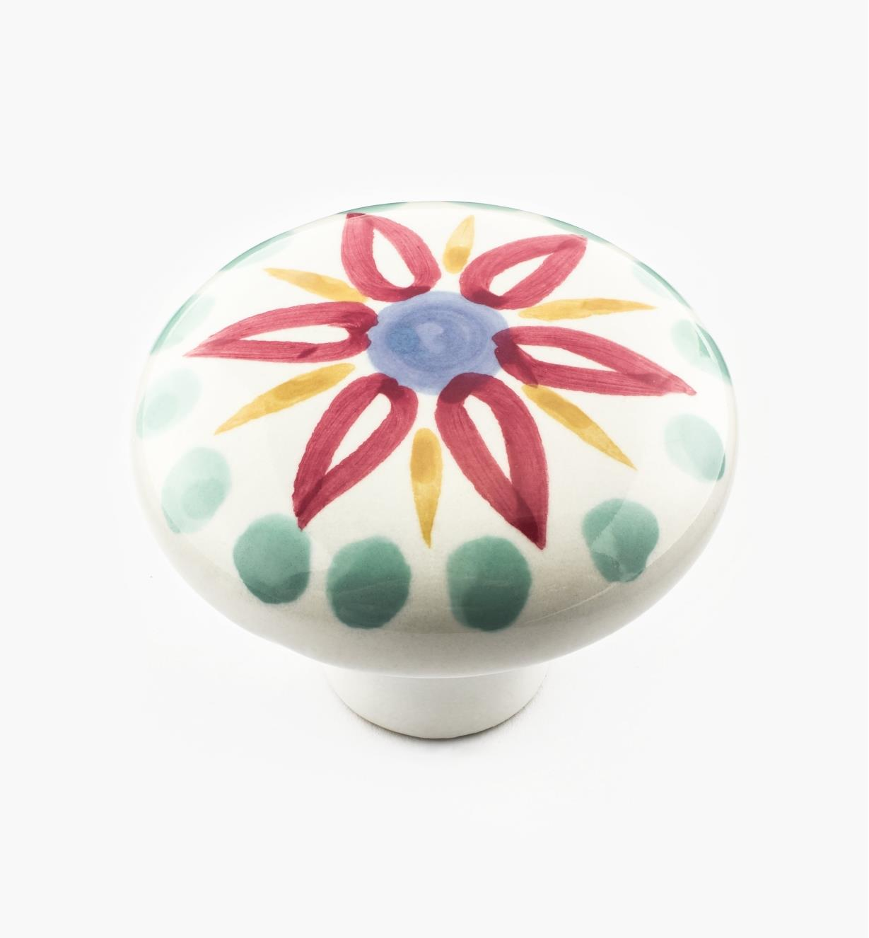 "02W1503 - 2"" Red Floral Ceramic Knob"