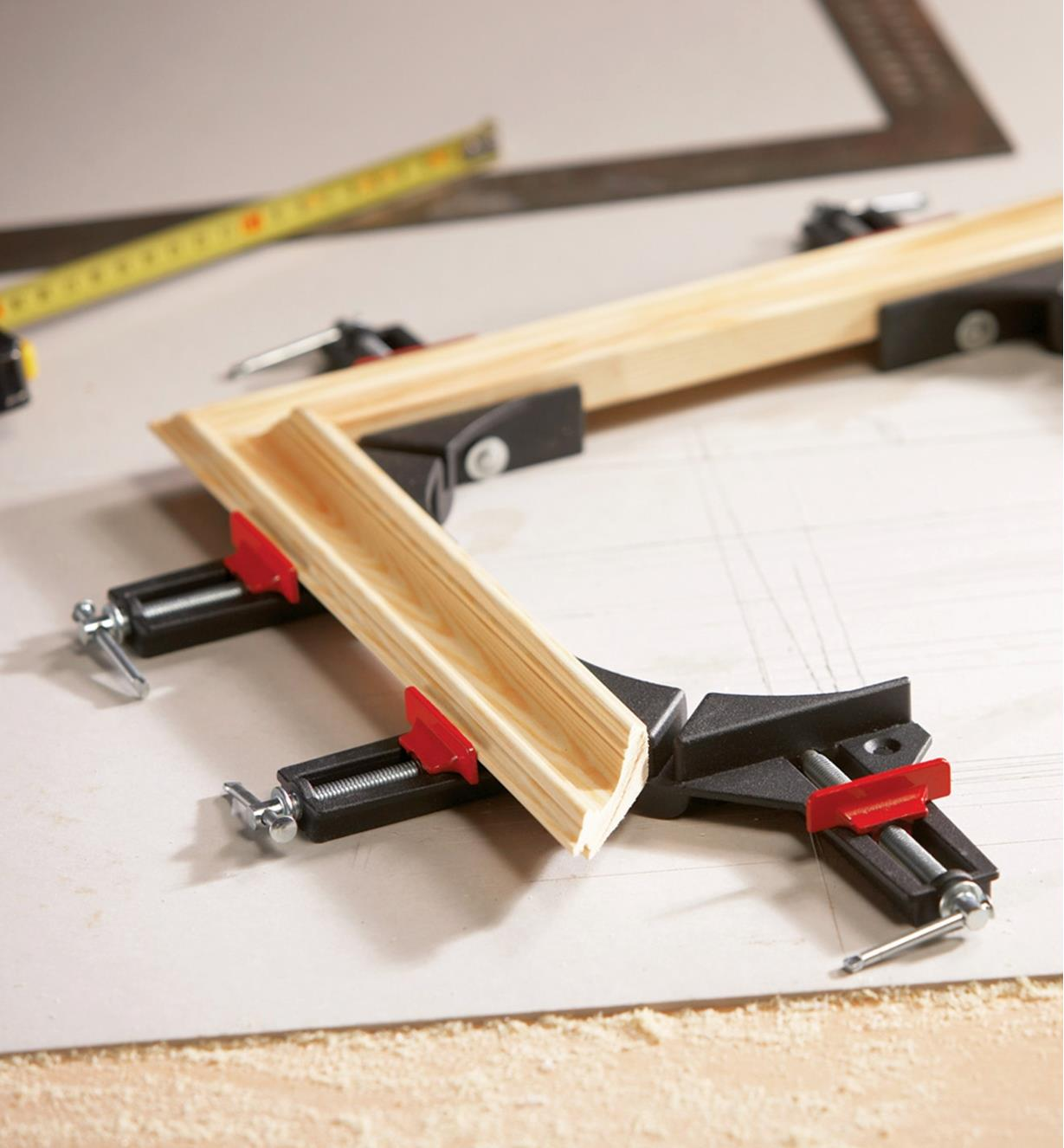 Bessey light-duty corner clamps being used to construct a picture frame