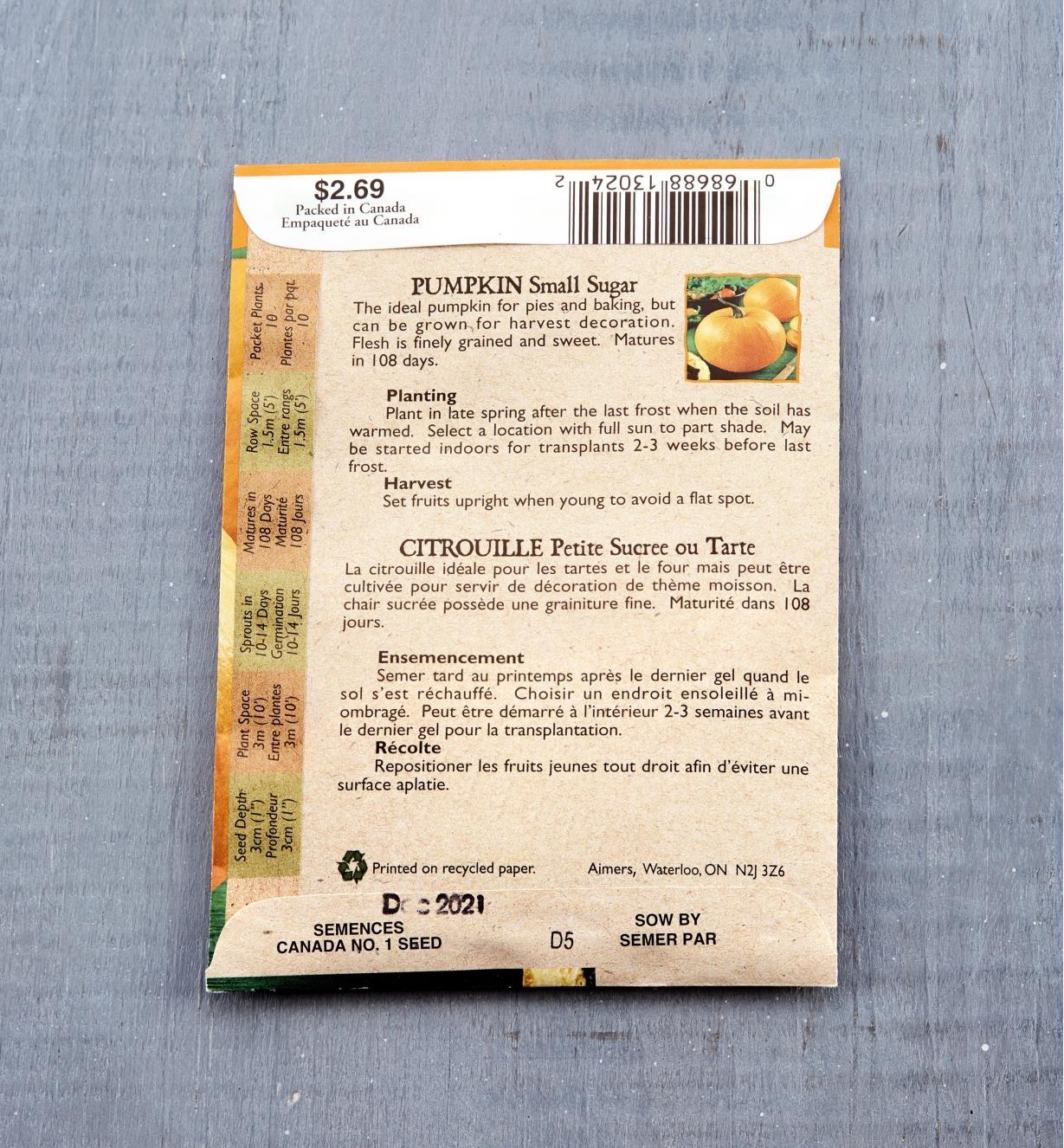 SD103 - Org Pumpkin, Small Sugar (Hrlm)