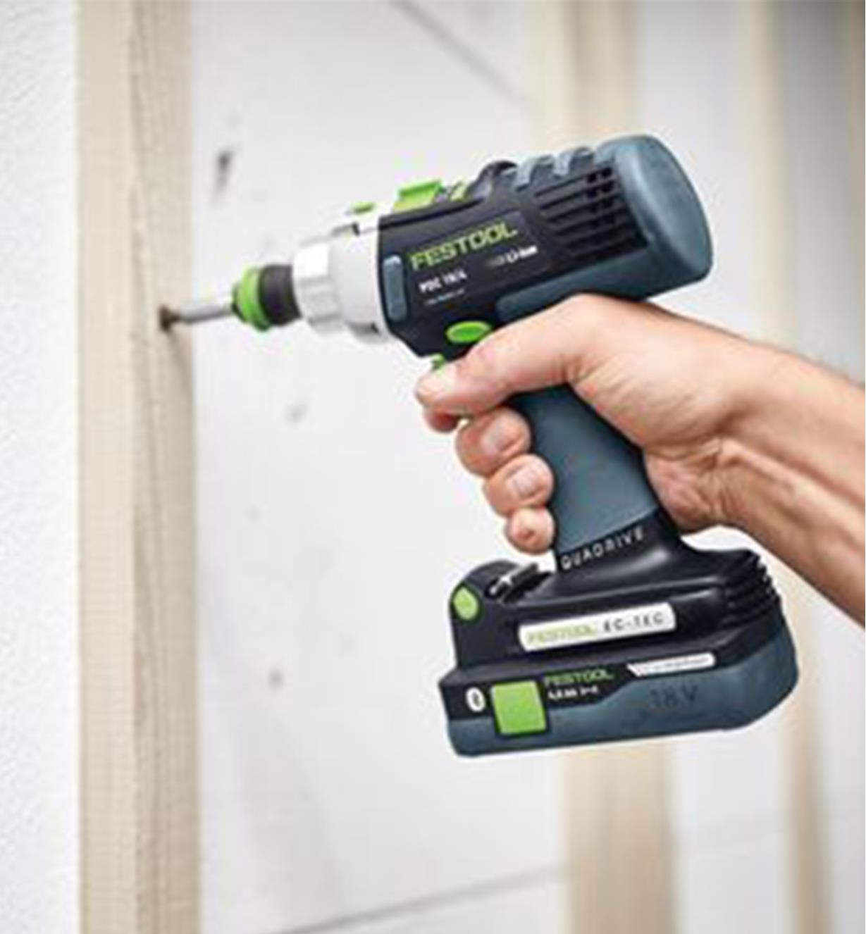Using the Festool PDC 18 Cordless Hammer Drill to install wall studs