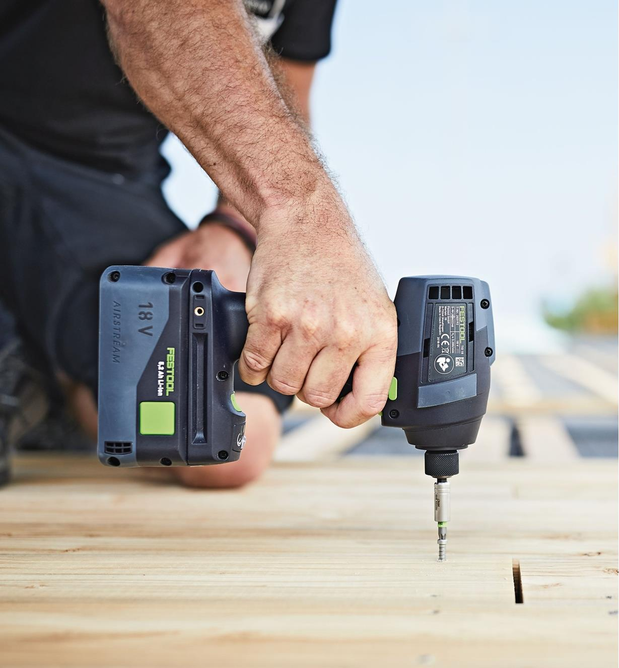 Using the Festool TID 18 Cordless Impact Screwdriver on a construction site
