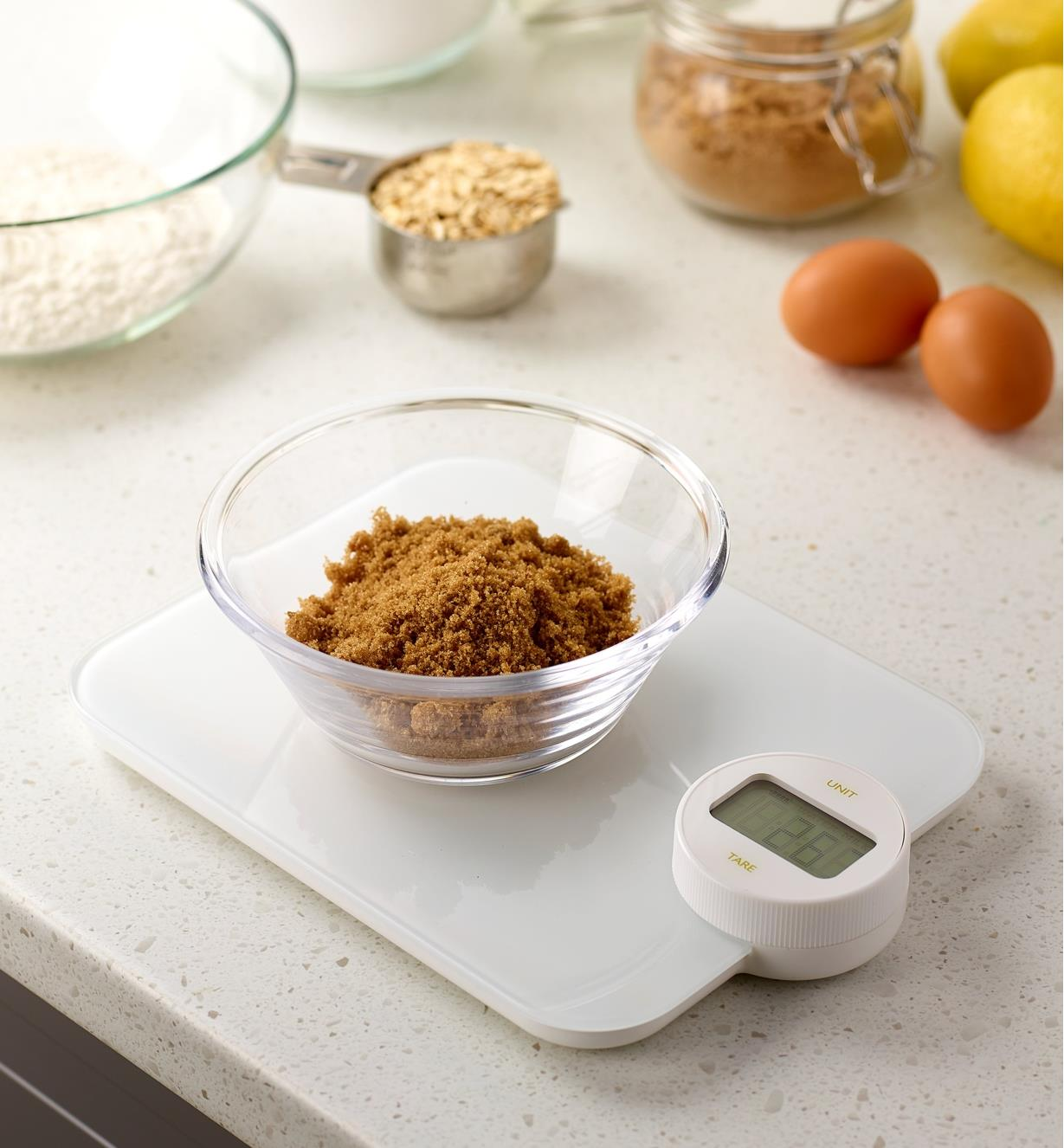 Battery-Free Kitchen Scale weighing a bowl of sugar
