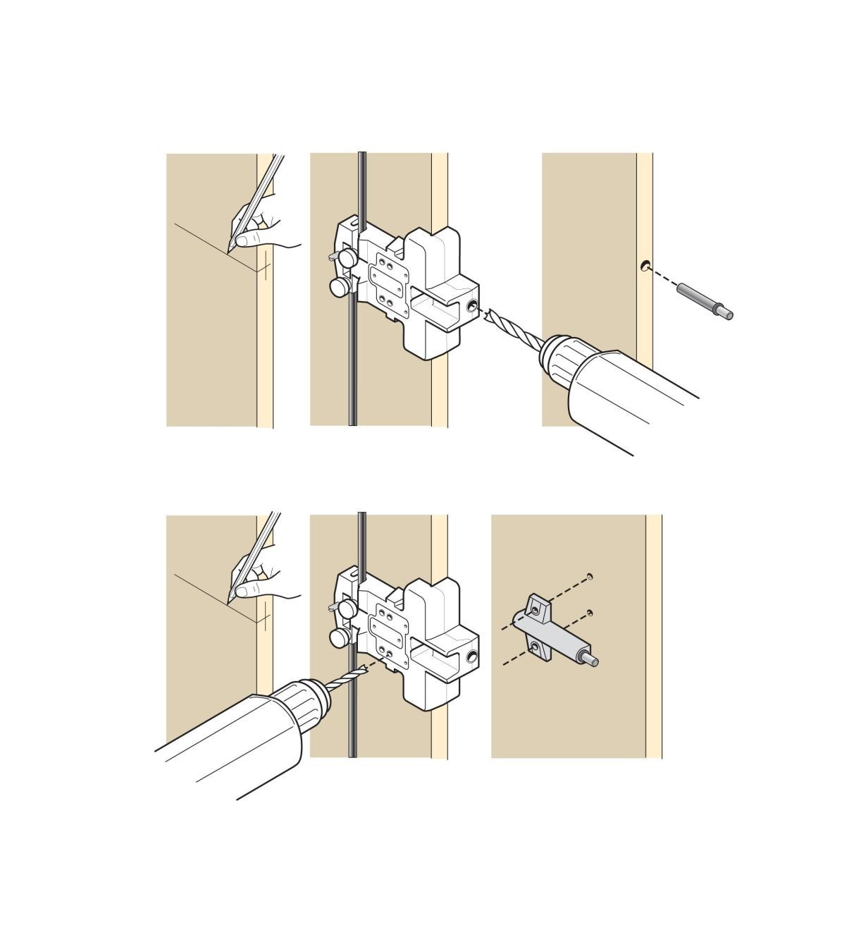 Diagram showing how to use the jig to drill holes for Blumotion installation