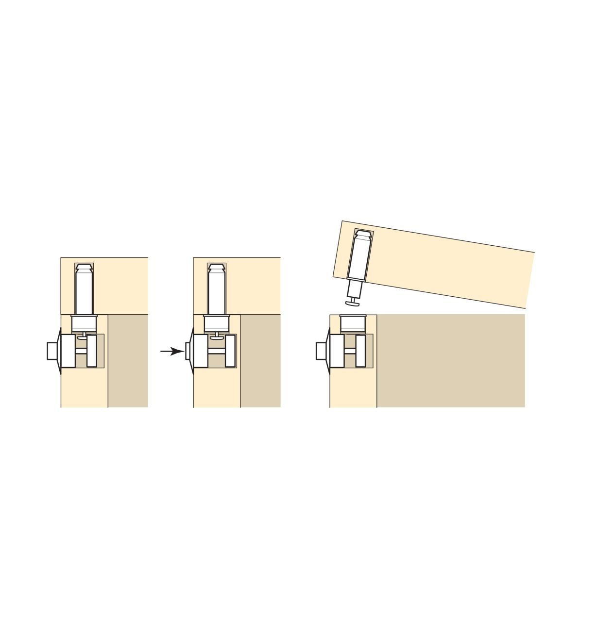Series of diagrams showing how to use a button lock to open a box lid