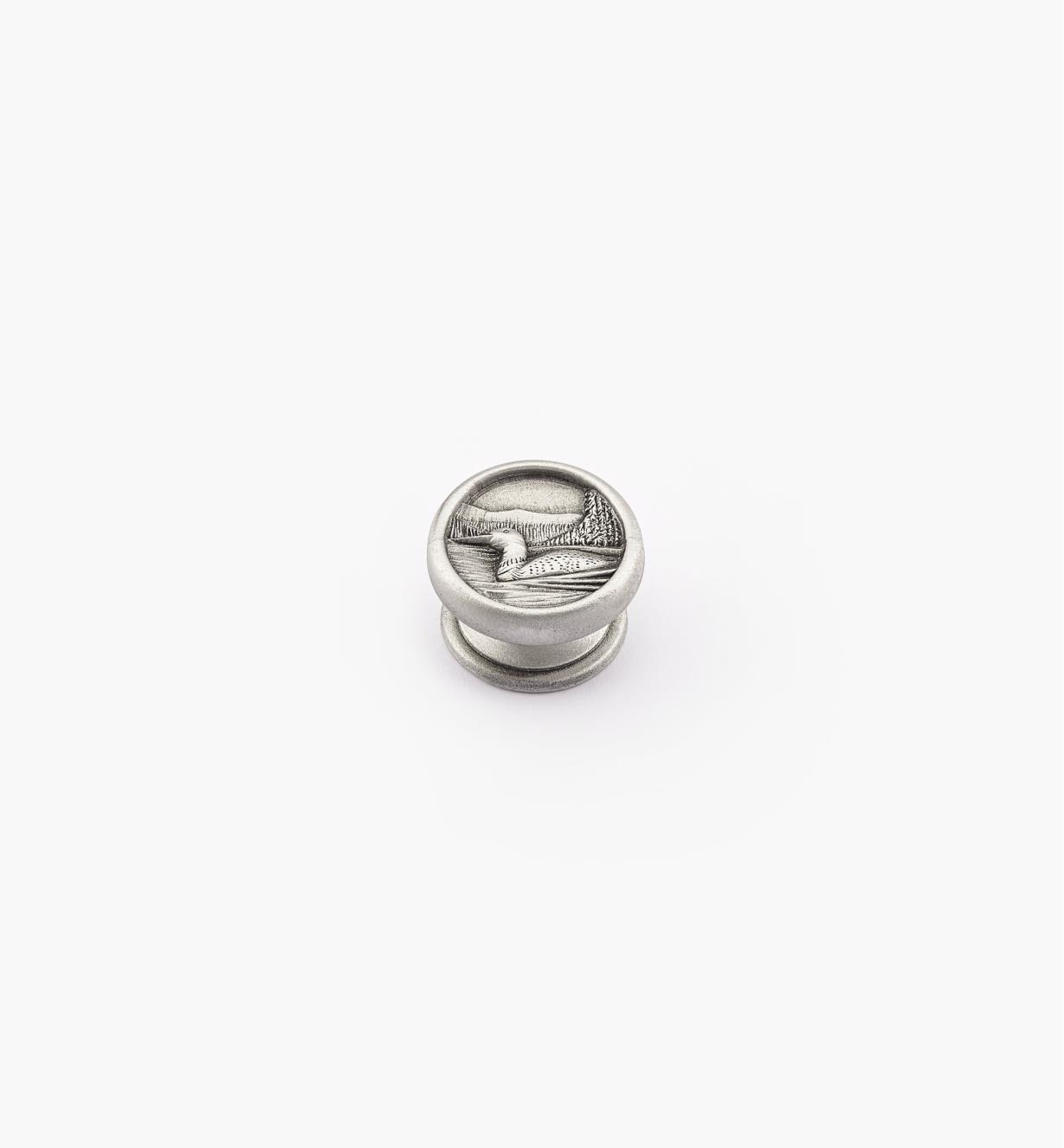 00F2601 - Bouton huard, série Nature en étain, 1 3/16 po x 3/4 po