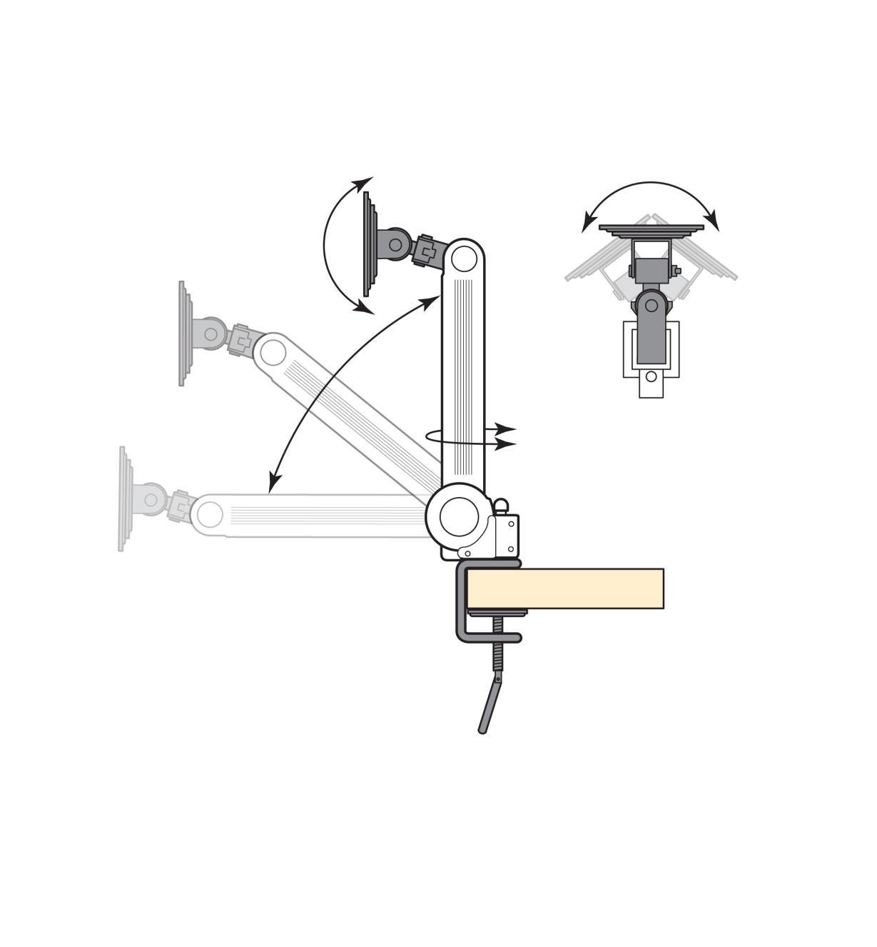"00K7930 - 15"" to 25"" Single-Arm Desk Mount"