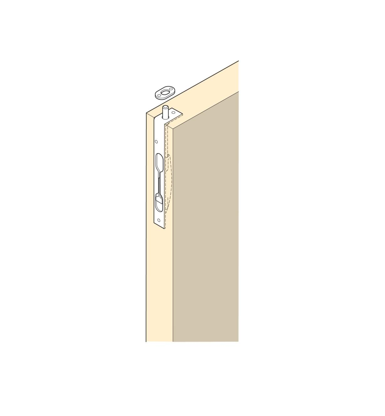 Illustration of installed Flush Bolt