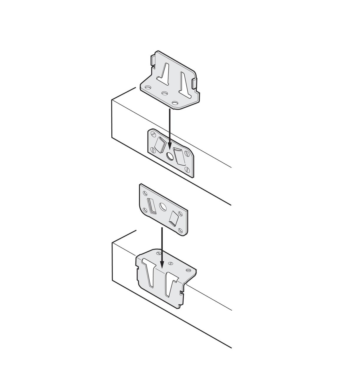 00S1710 - Right-Angle Joiners, 2 pairs