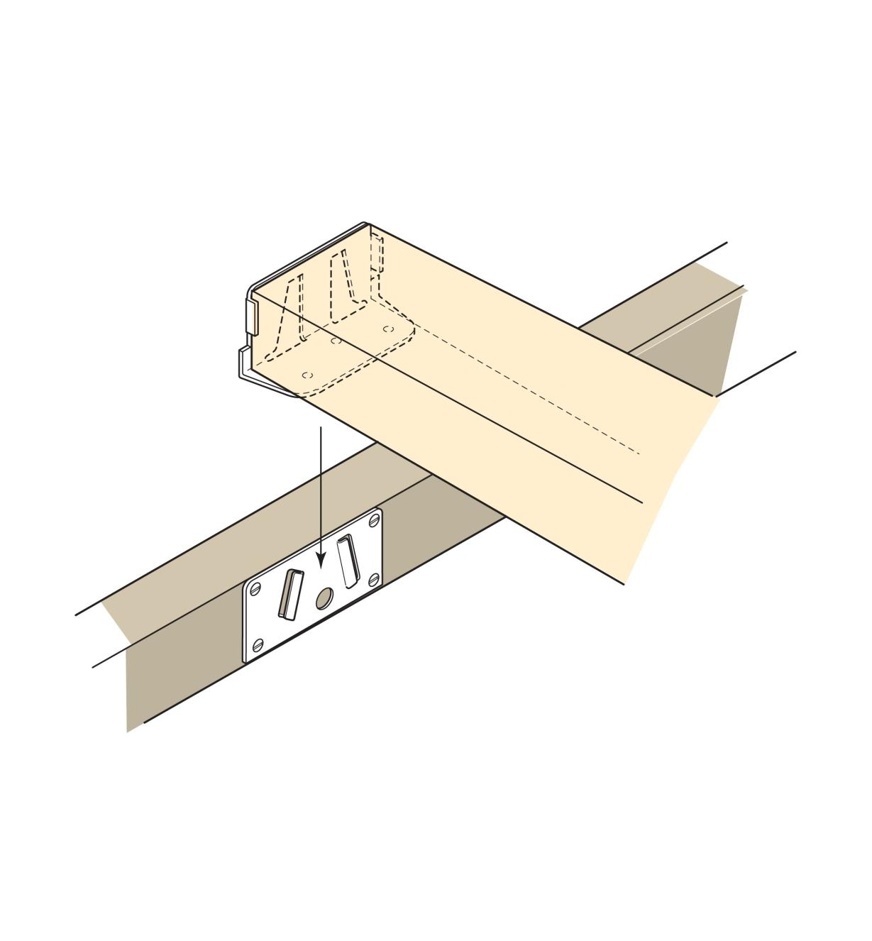 Illustration of Right-Angle Joiners joining a central beam to a side rail