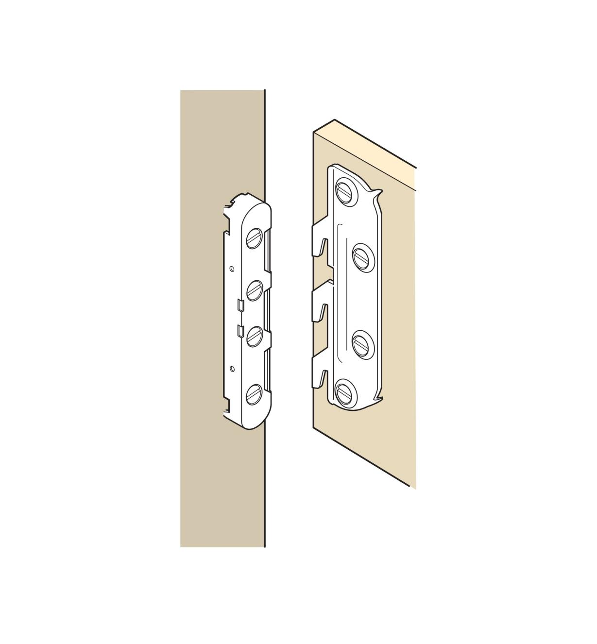 Illustration of Mortise-Free Bedlock joining a bed rail and headboard