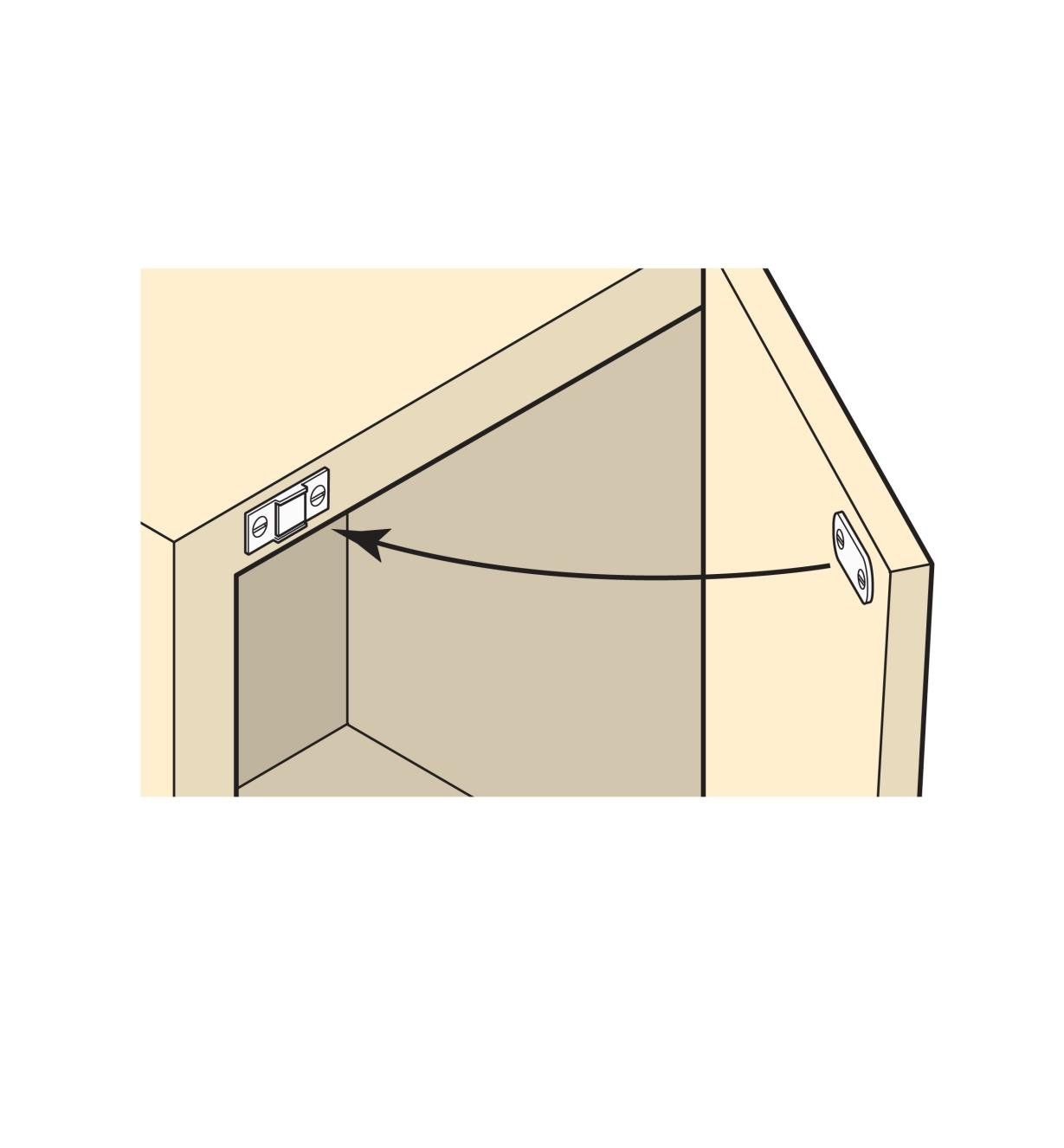 Illustration of latch installed in a cabinet door