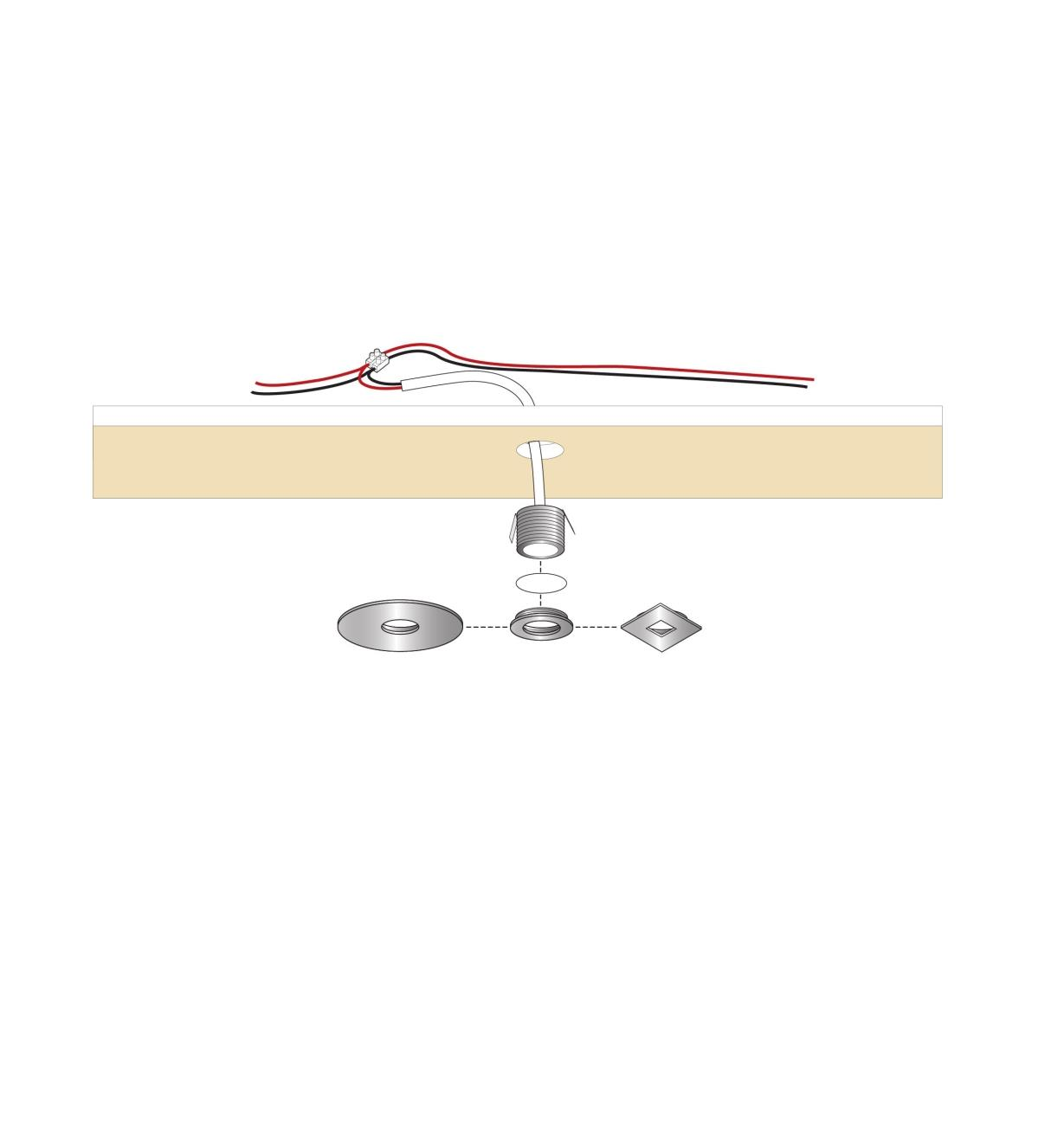 Illustration of three ring style options with cutaway view of a mini recessed light being installed