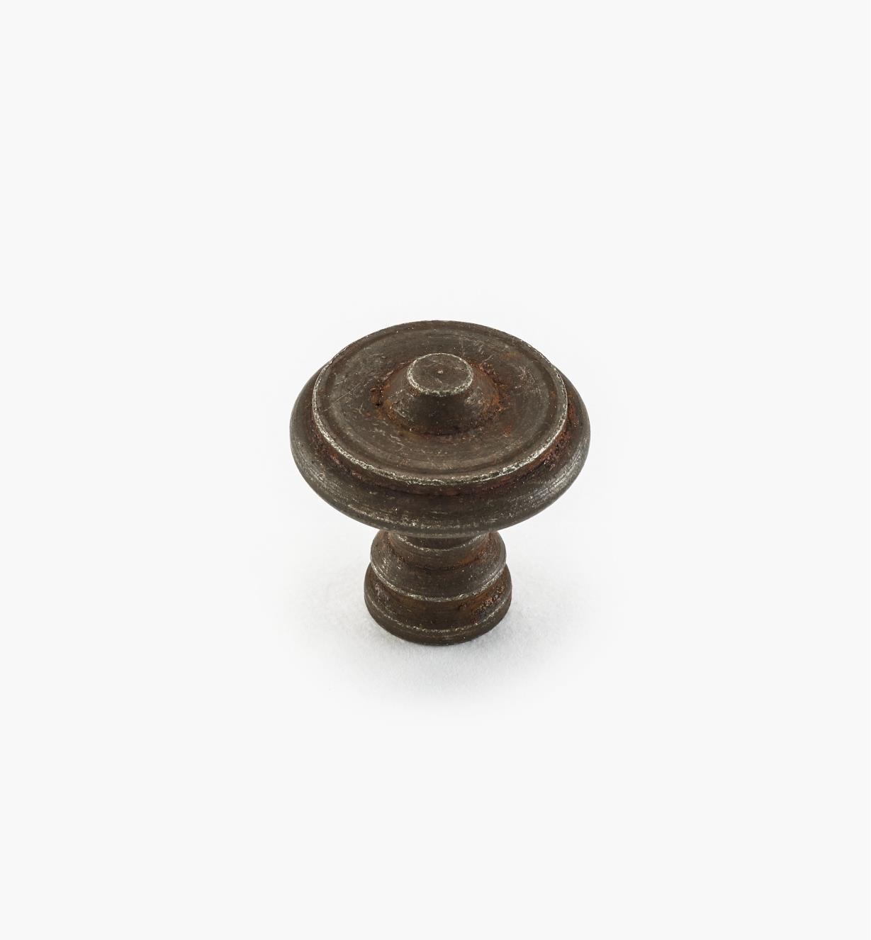 01A6052 - Bouton en acier, fini rouille, 25 mm x 25 mm