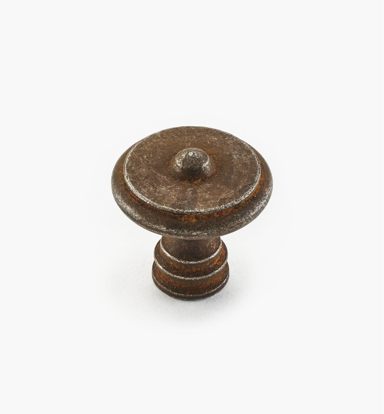 01A6053 - Bouton en acier, fini rouille, 30 mm x 30 mm