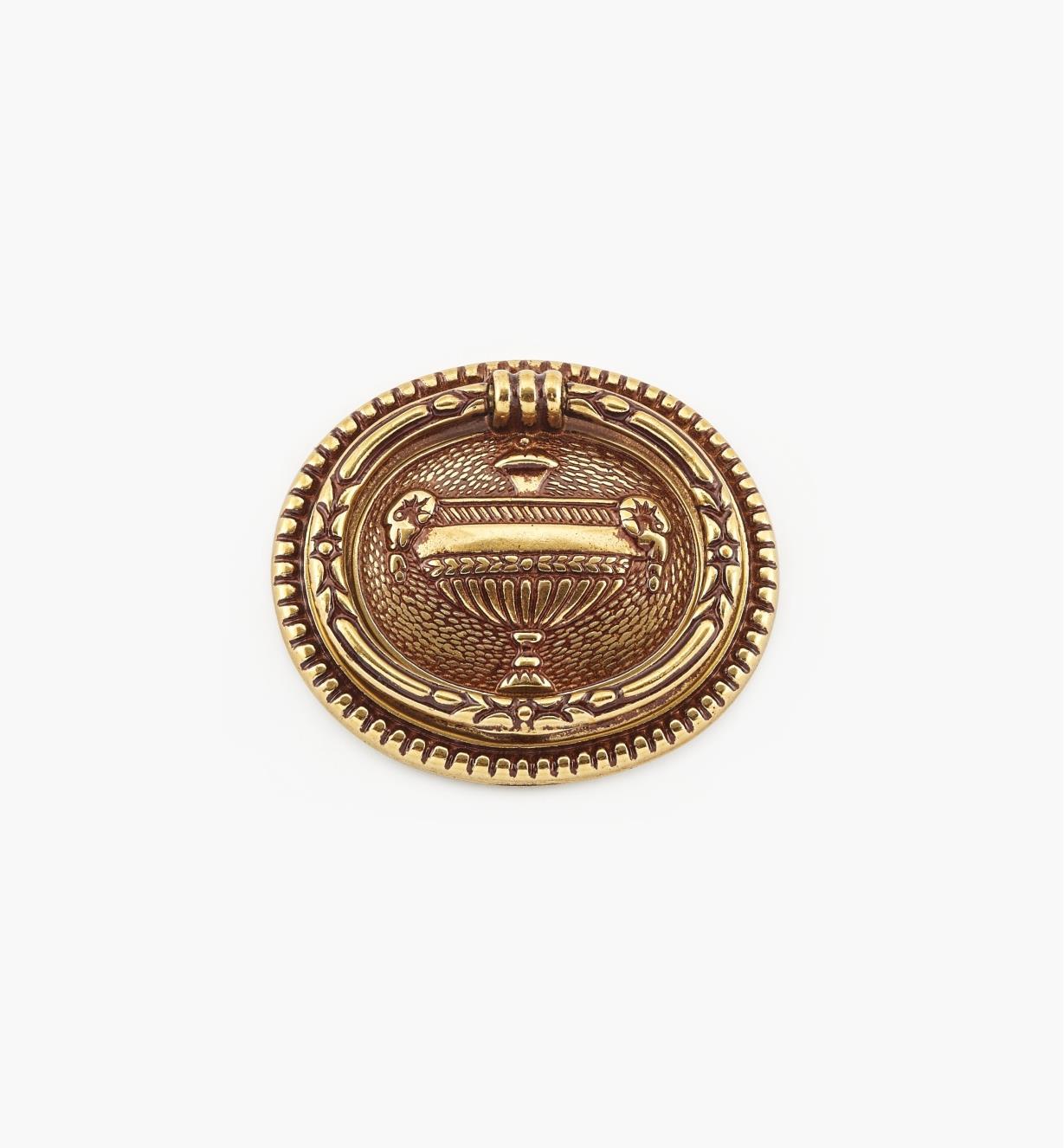 01A7351 - Poignée à anneau ovale de 66mm x 58mm, quincaillerie Louis XVI, série V