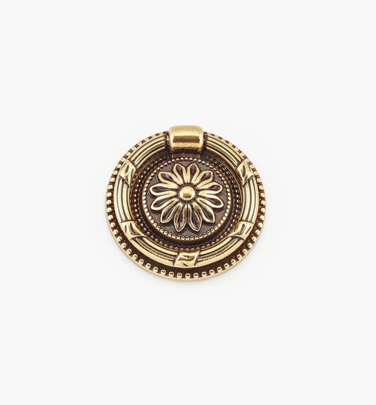 01A7411 - Poignée à anneau sur platine de 47 mm,quincaillerie LouisXVI, sérieVI