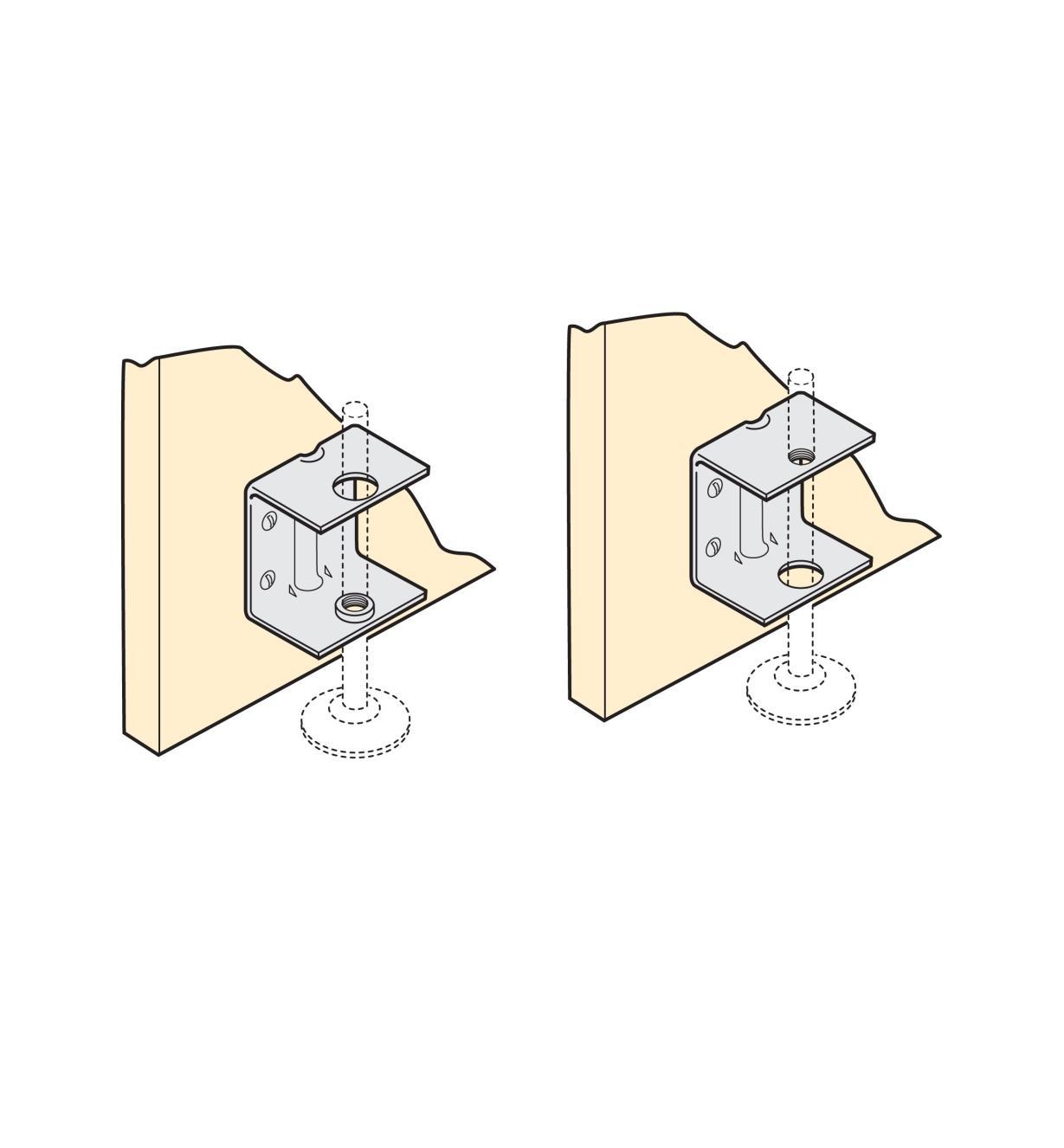 01S0405 - Supports droits de pied réglable, le paquet de 4
