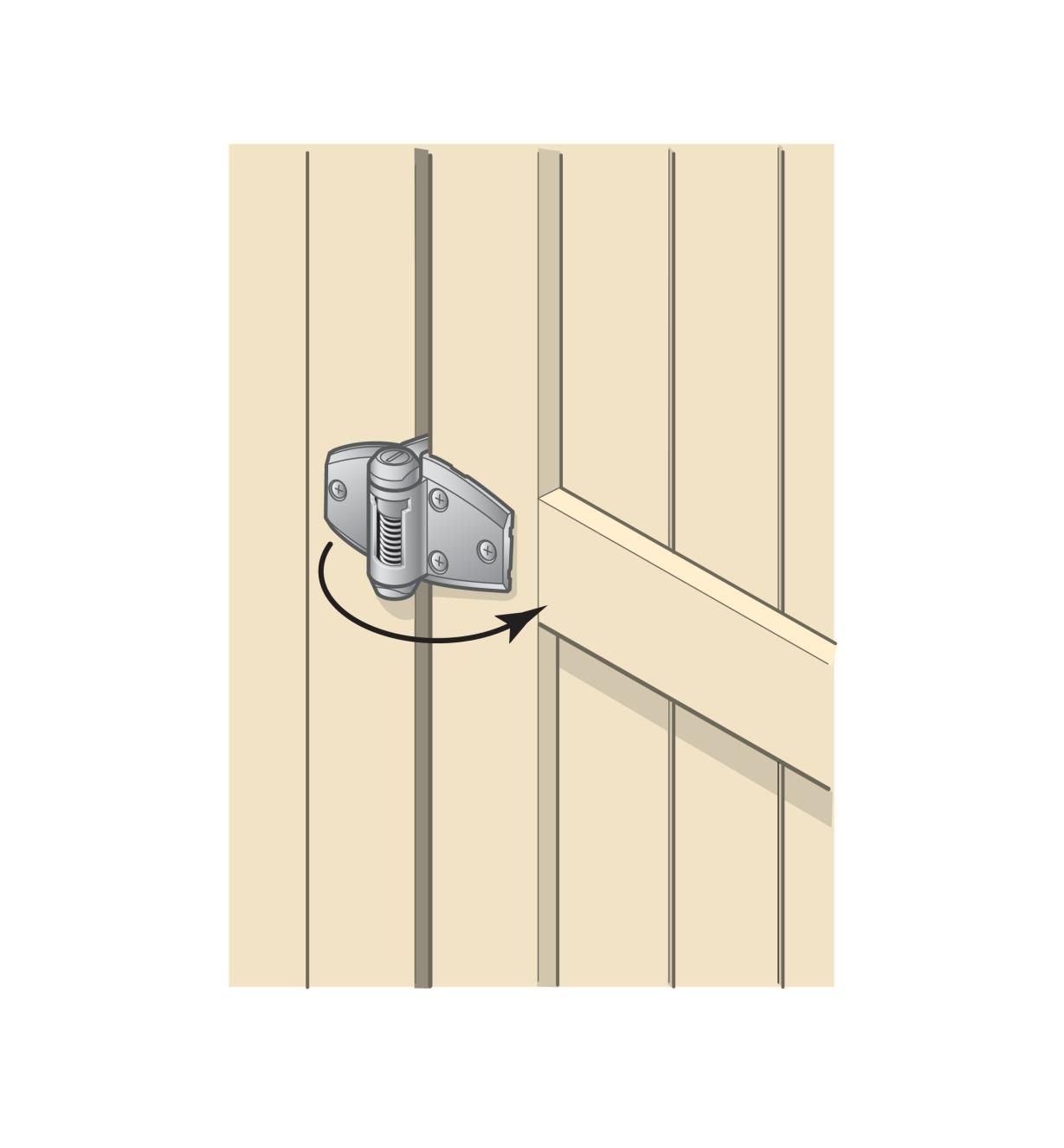 Illustration of Standard Wrap Hinge mounted to a gate