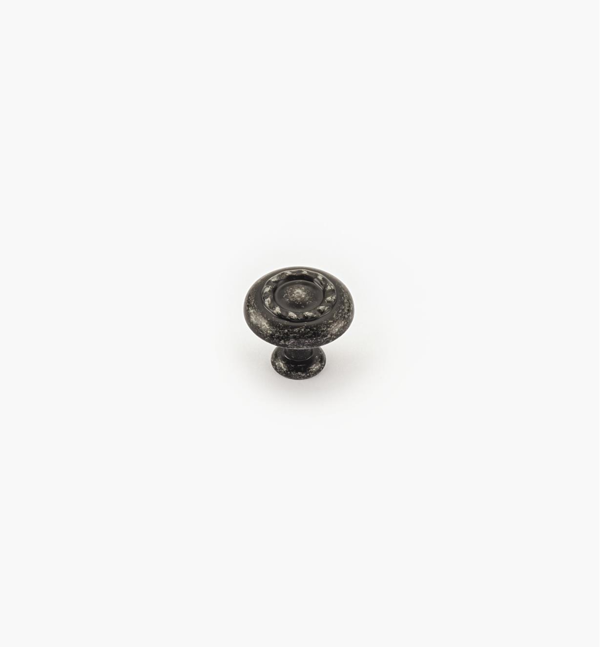 02A0704 - Bouton à motif cordé de 1 1/4 po, série Inspirations, fini fer forgé