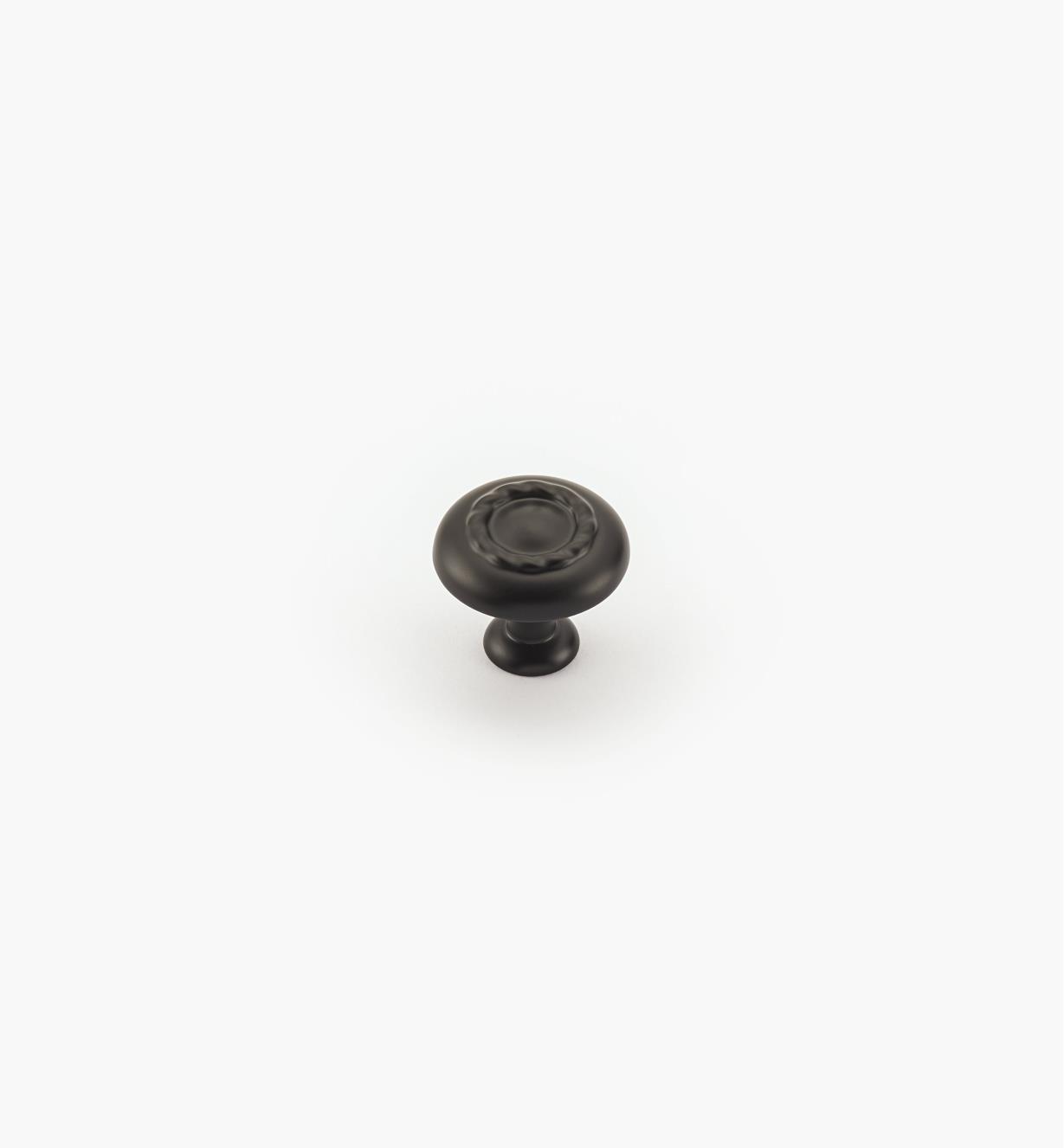 02A0804 - Bouton à motif cordé de 11/4po, série Inspirations, fini noir mat