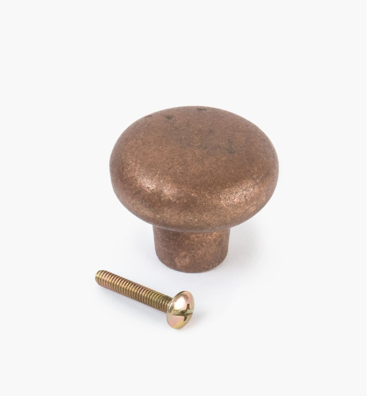 02G0324 - Bouton bombé de 15/8po x 13/8po, série Montana, fini bronze naturel