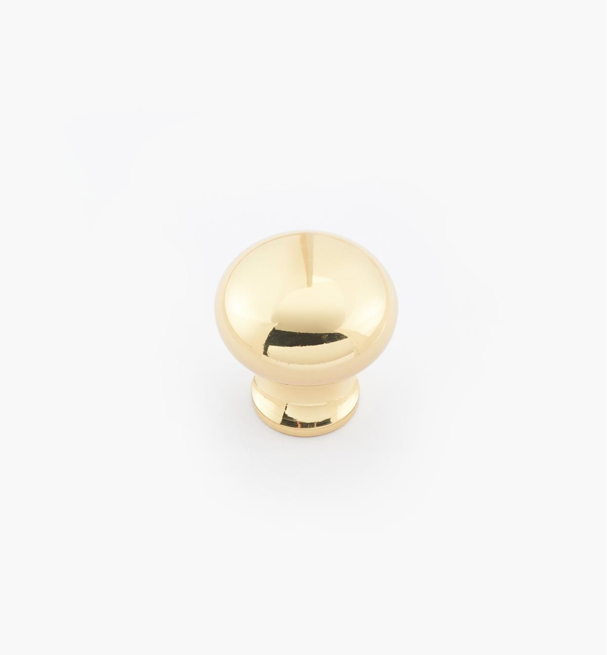 "02W1402 - 3/4"" × 3/4"" Round Brass Knob, Polished Brass"