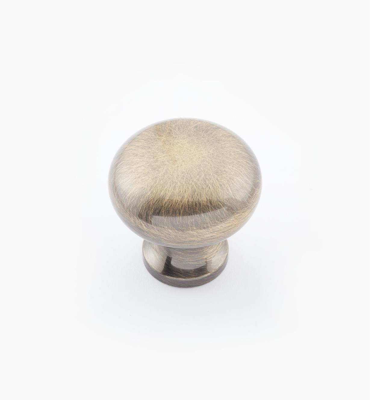 "02W1413 - 1"" × 1"" Round Brass Knob, Antique Brass"