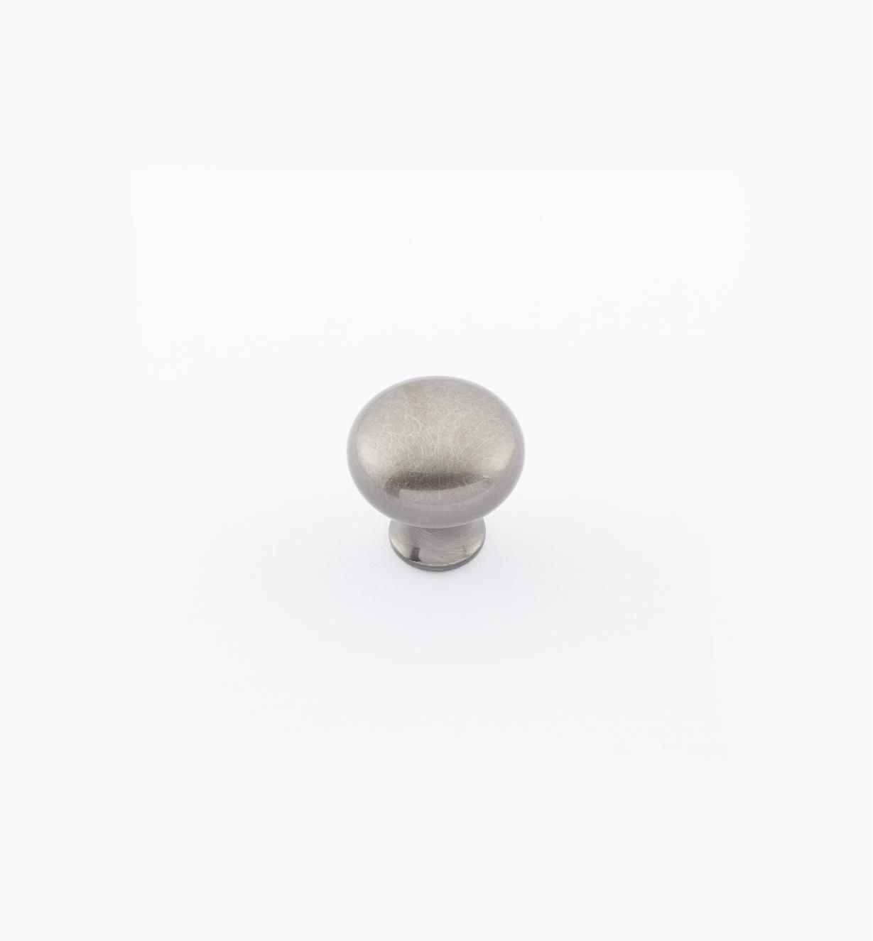 "02W1431 - 1/2"" × 1/2"" Round Brass Knob, Antique Nickel"