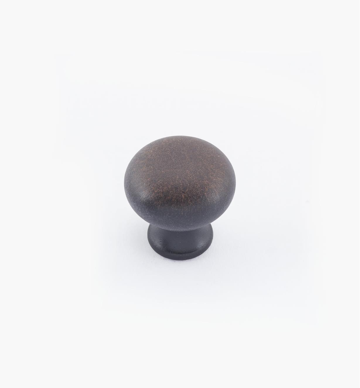 "02W1442 -  3/4"" × 3/4"" Round Brass Knob, Weathered Bronze"