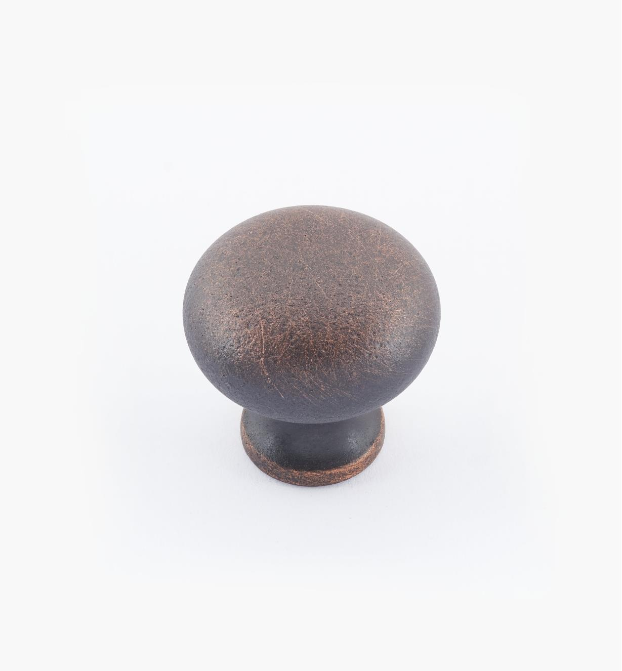 "02W1443 - 1"" × 1"" Round Brass Knob, Weathered Bronze"