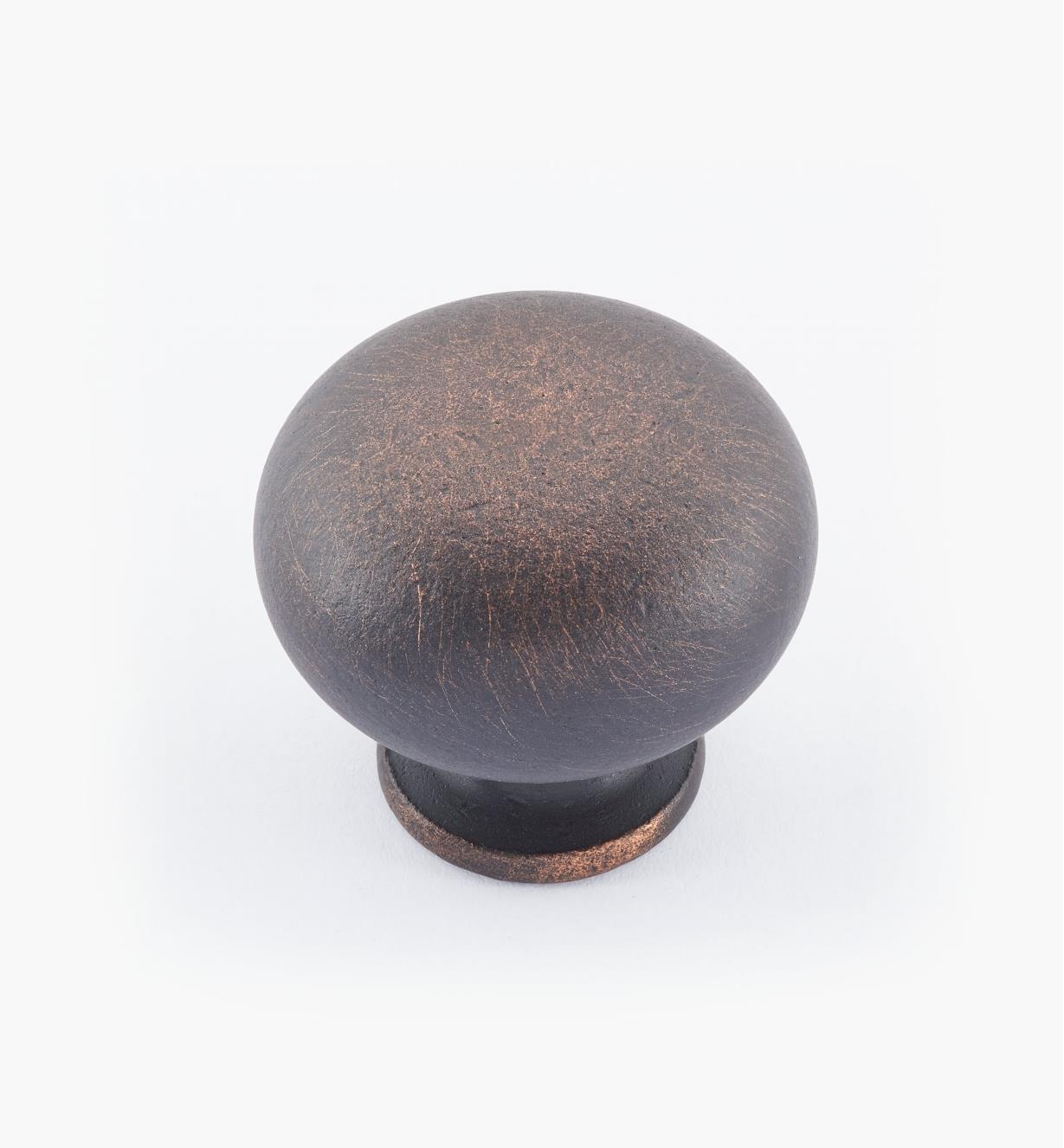 "02W1444 - 1 1/4"" × 1 1/8"" Round Brass Knob, Weathered Bronze"